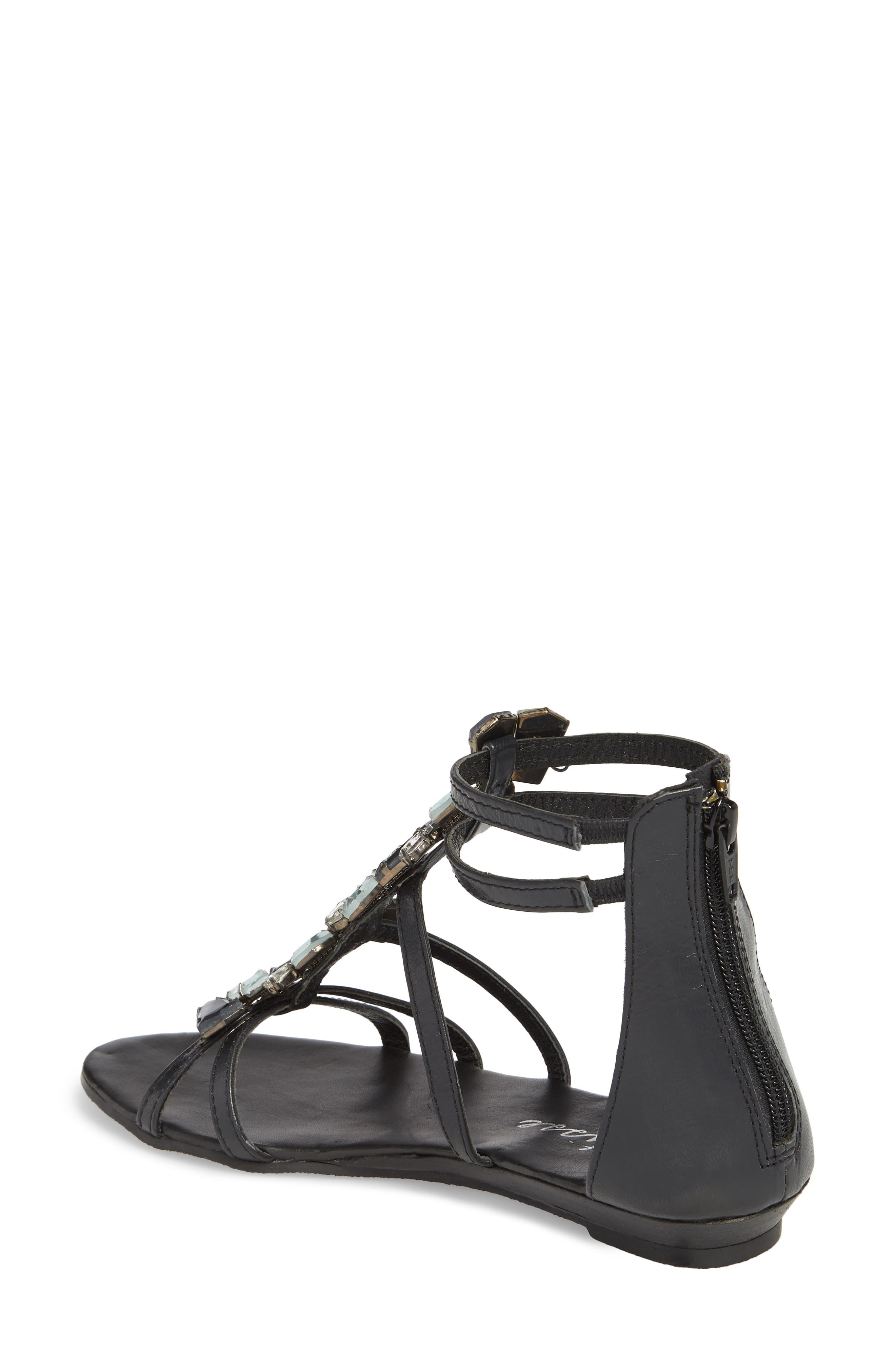 Didi Crystal Embellished Sandal,                             Alternate thumbnail 2, color,                             BLACK LEATHER