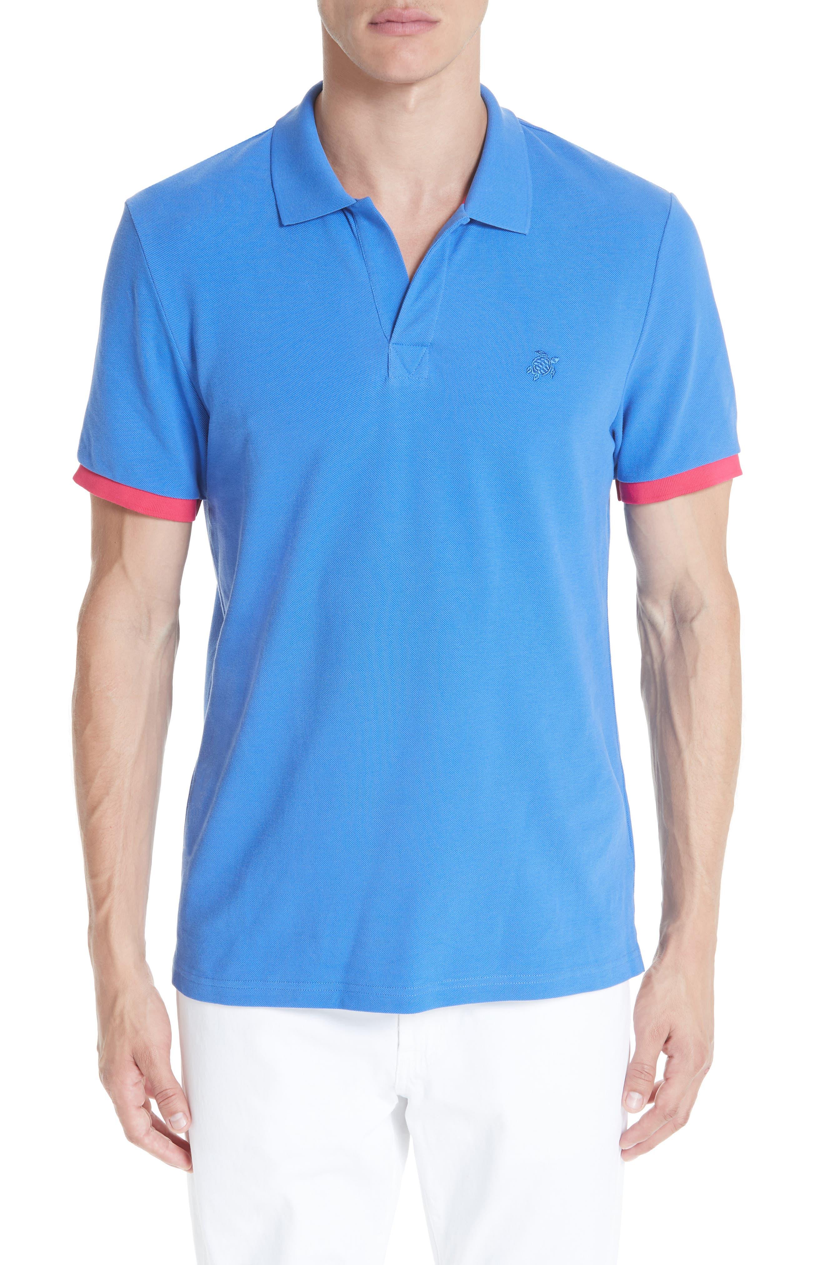 Johnny Collar Piqué Polo,                         Main,                         color, BLUE