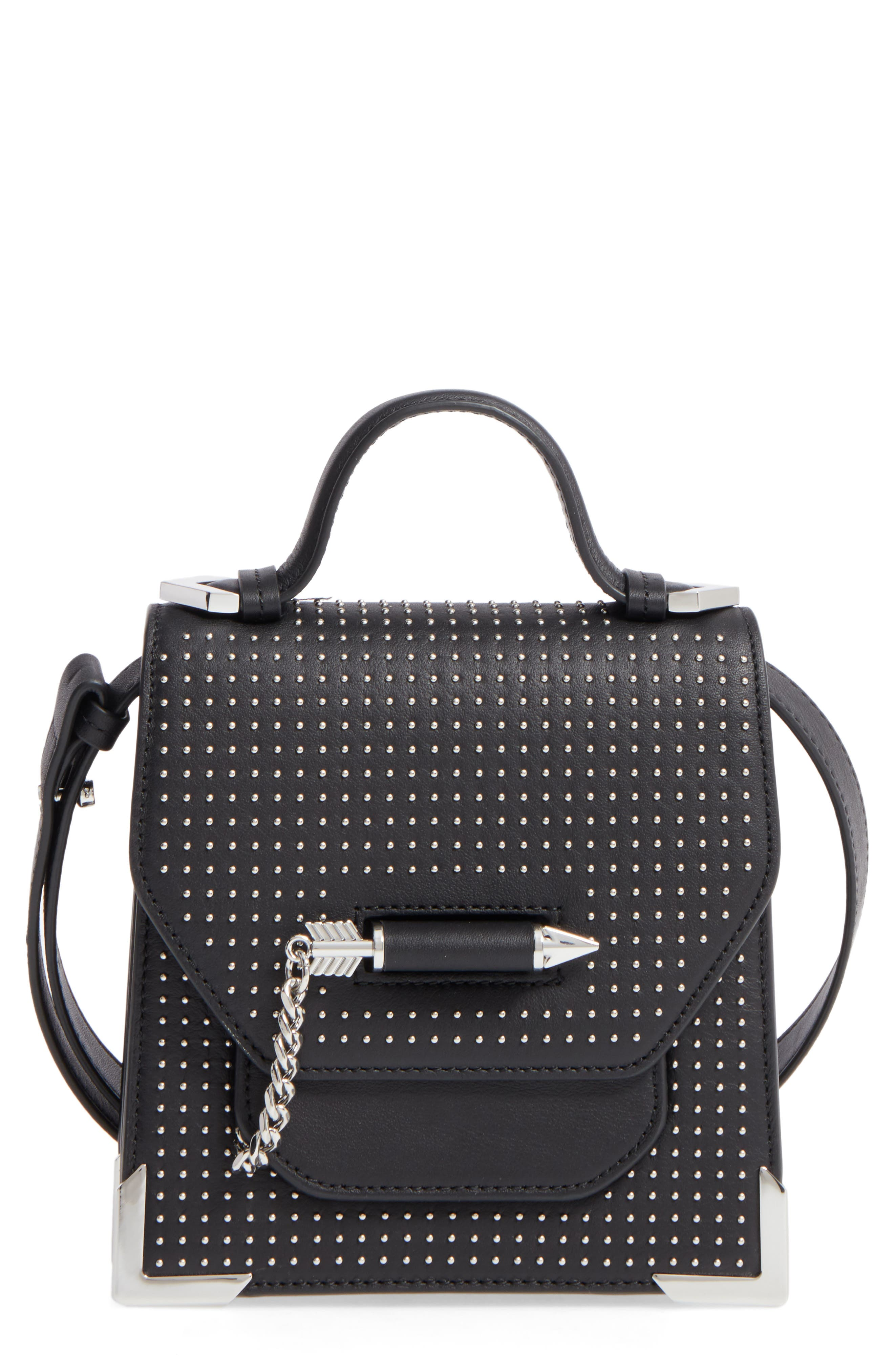 MACKAGE,                             Mini Rubie Leather Crossbody Bag,                             Main thumbnail 1, color,                             001