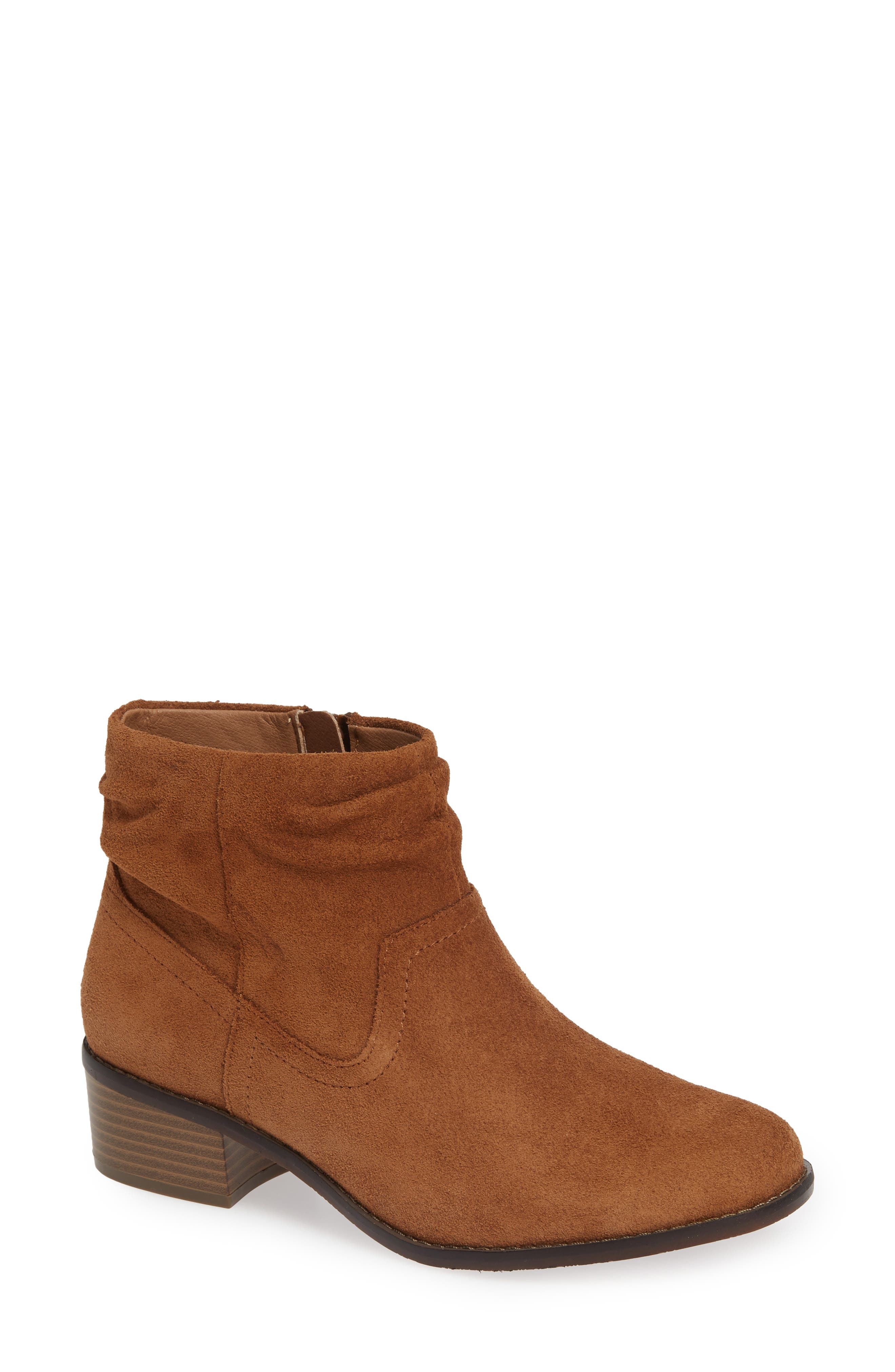 Kanela Low Slouchy Bootie,                             Main thumbnail 1, color,                             TOFFEE SUEDE