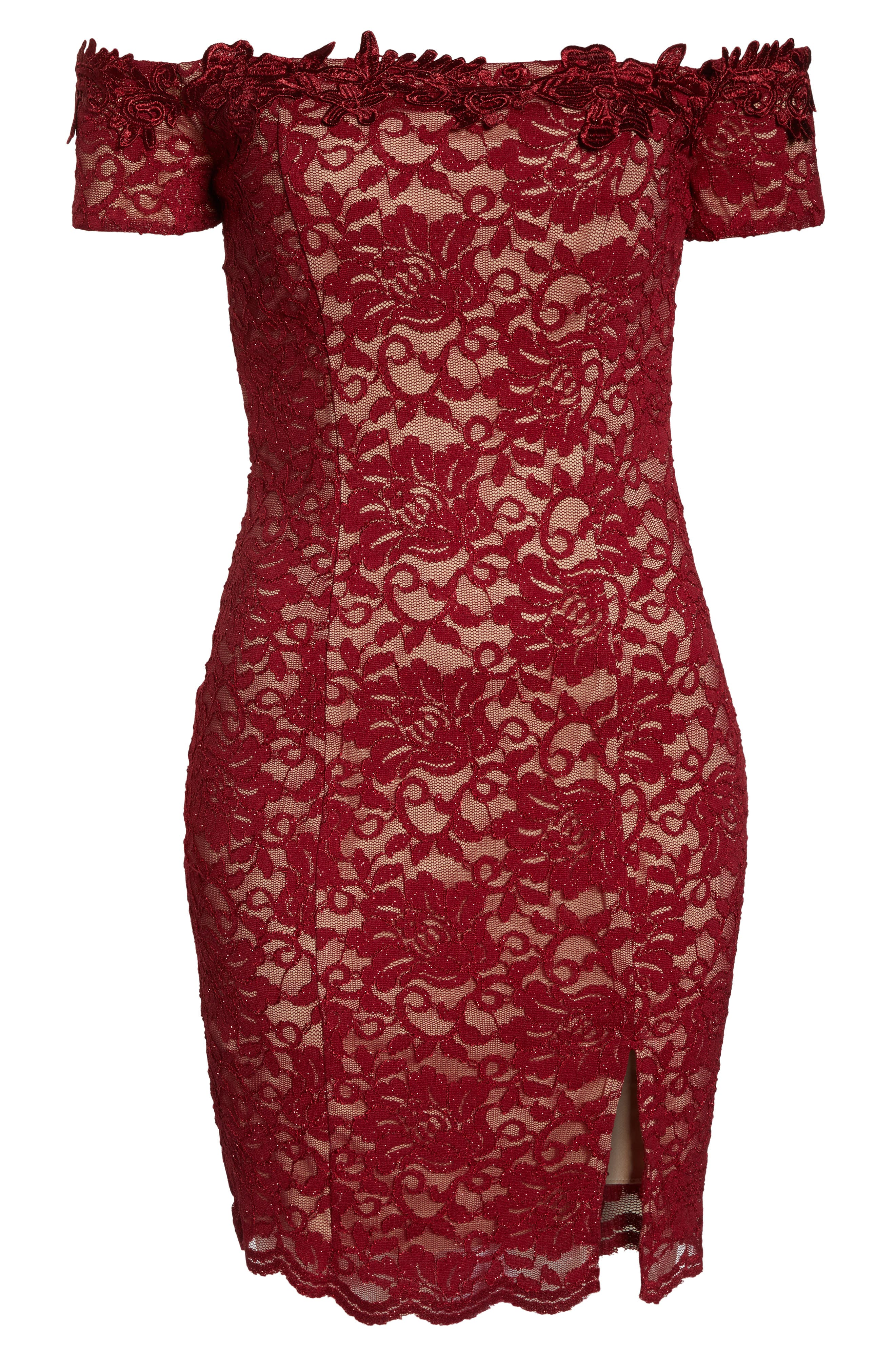 Off the Shoulder Glitter Lace Sheath,                             Alternate thumbnail 7, color,                             WINE/ NUDE