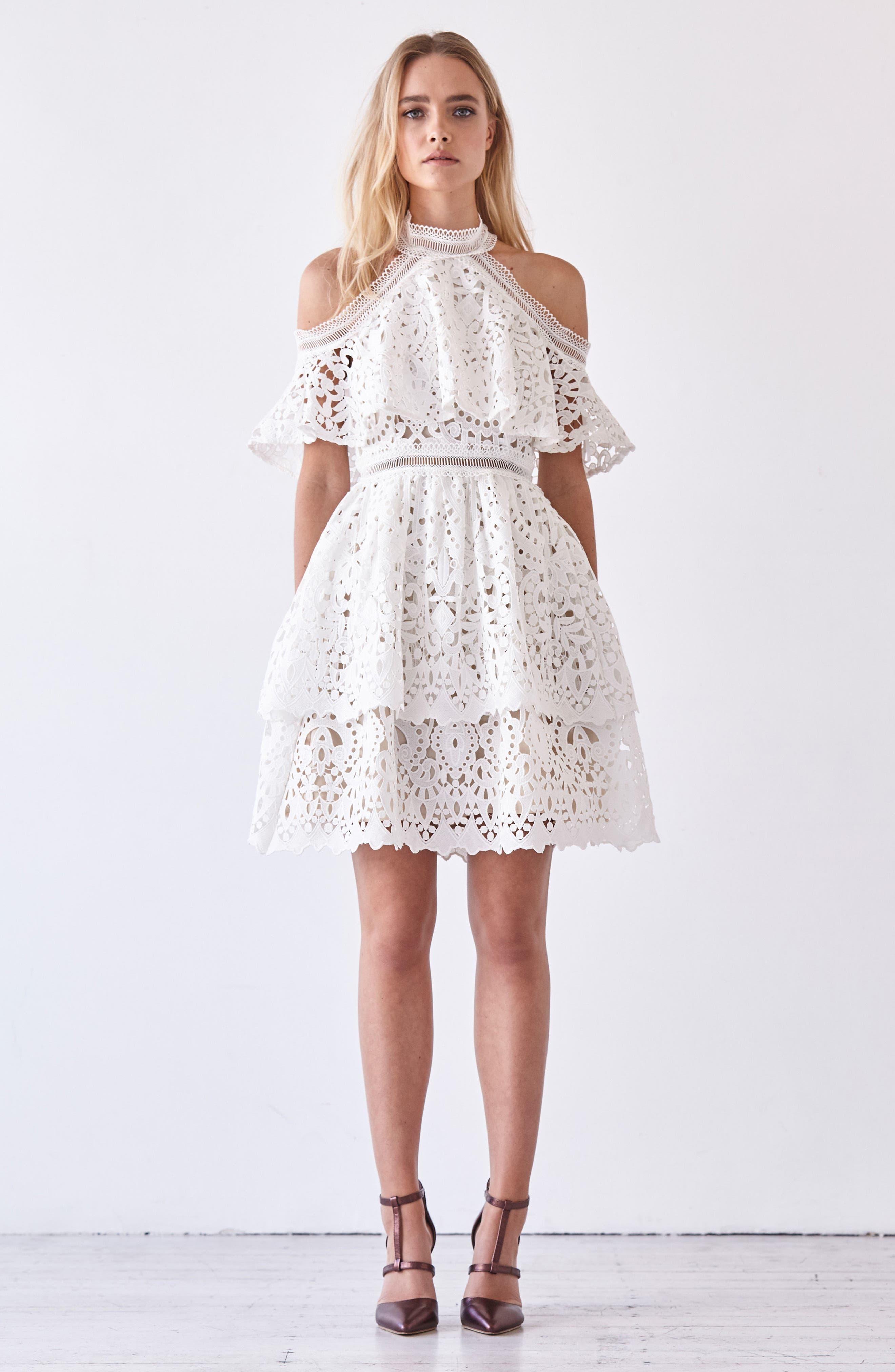 Saint Cloud Cold Shoulder Ruffle Dress,                             Alternate thumbnail 7, color,                             100