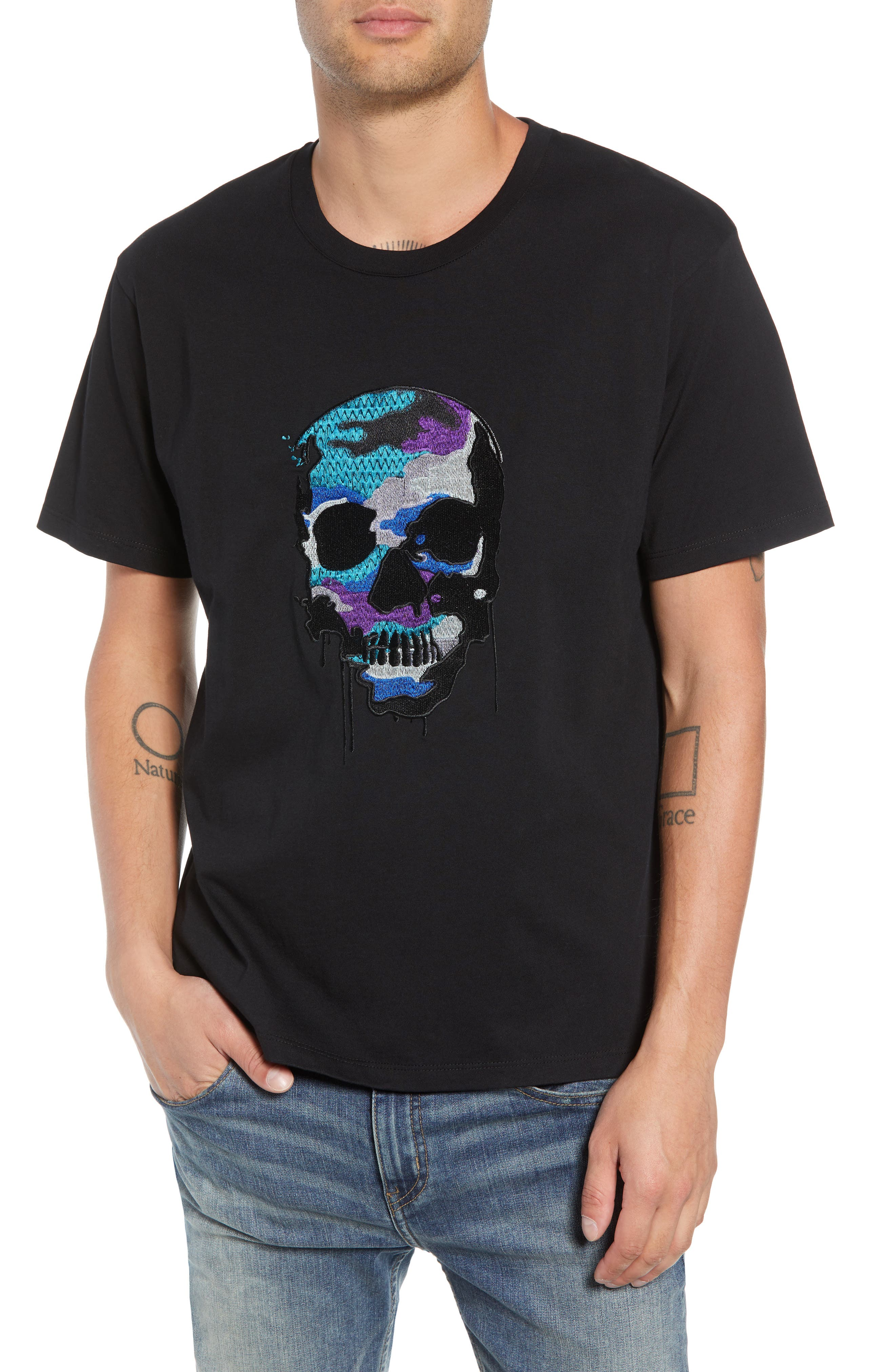 Embroidered Skull T-Shirt,                         Main,                         color, BLACK