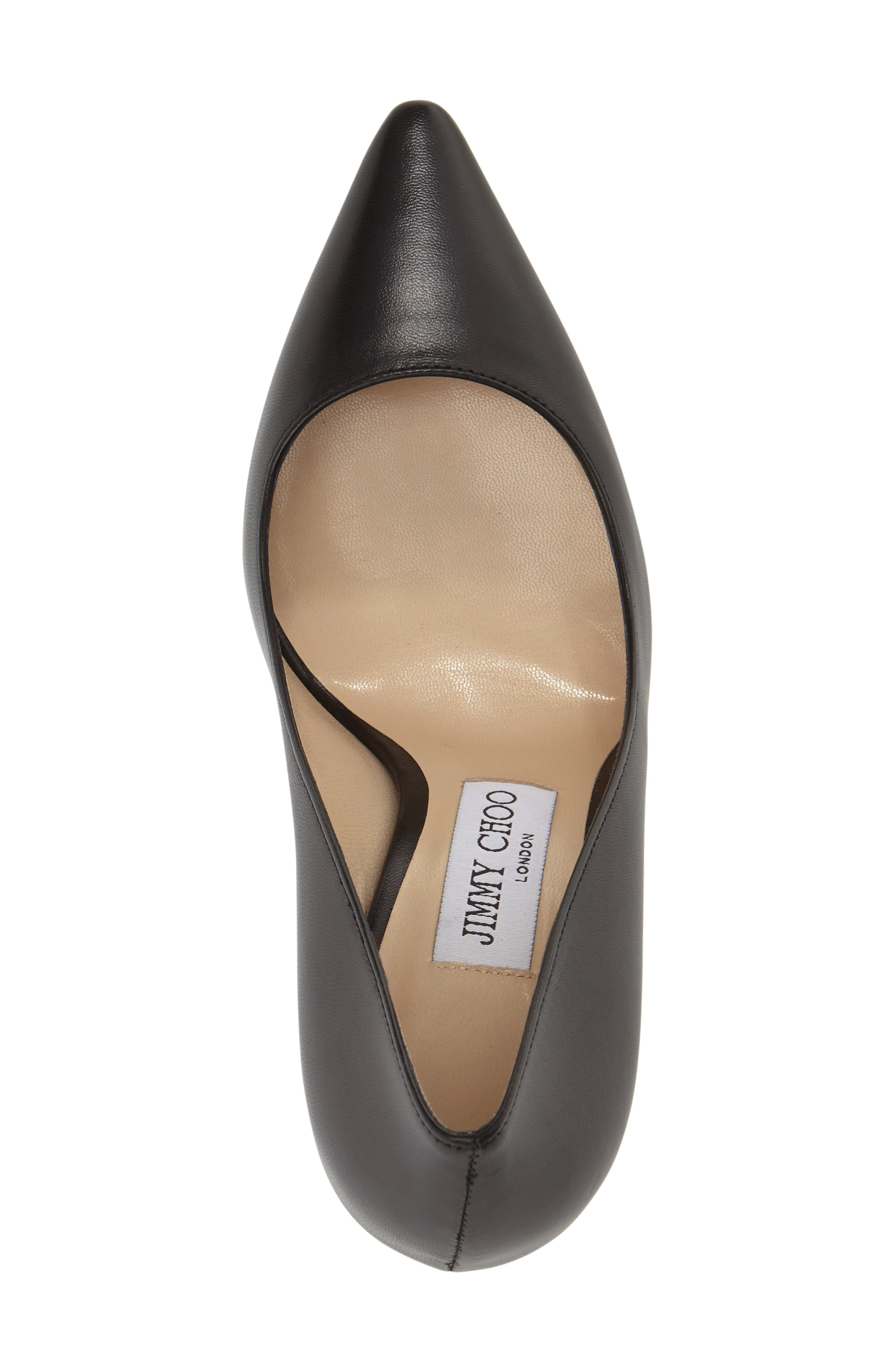 'Romy' Pointy Toe Pump,                             Alternate thumbnail 4, color,                             BLACK LEATHER