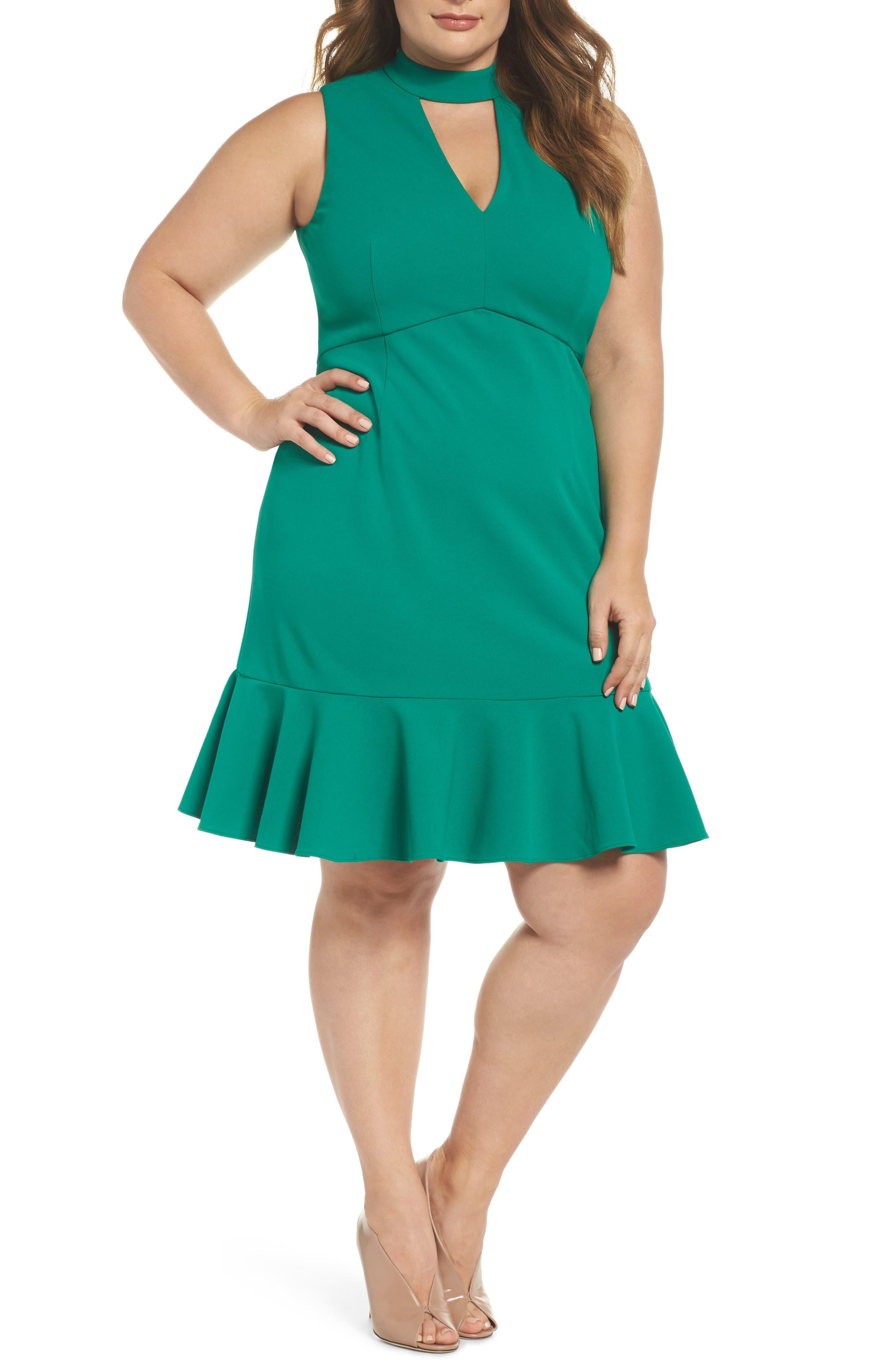 Choker Fit & Flare Dress,                         Main,                         color, 310