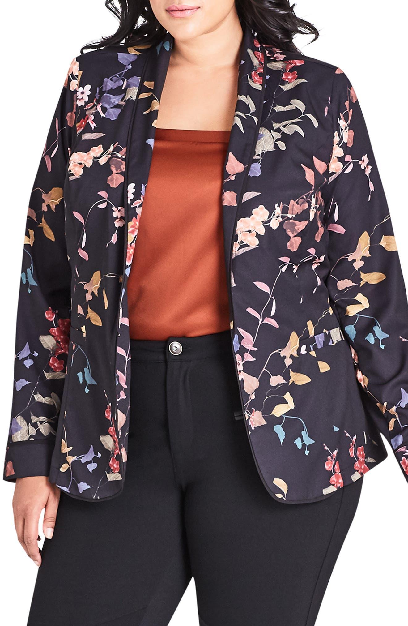 CITY CHIC Plus Size Floral-Print Jacket in Sensai