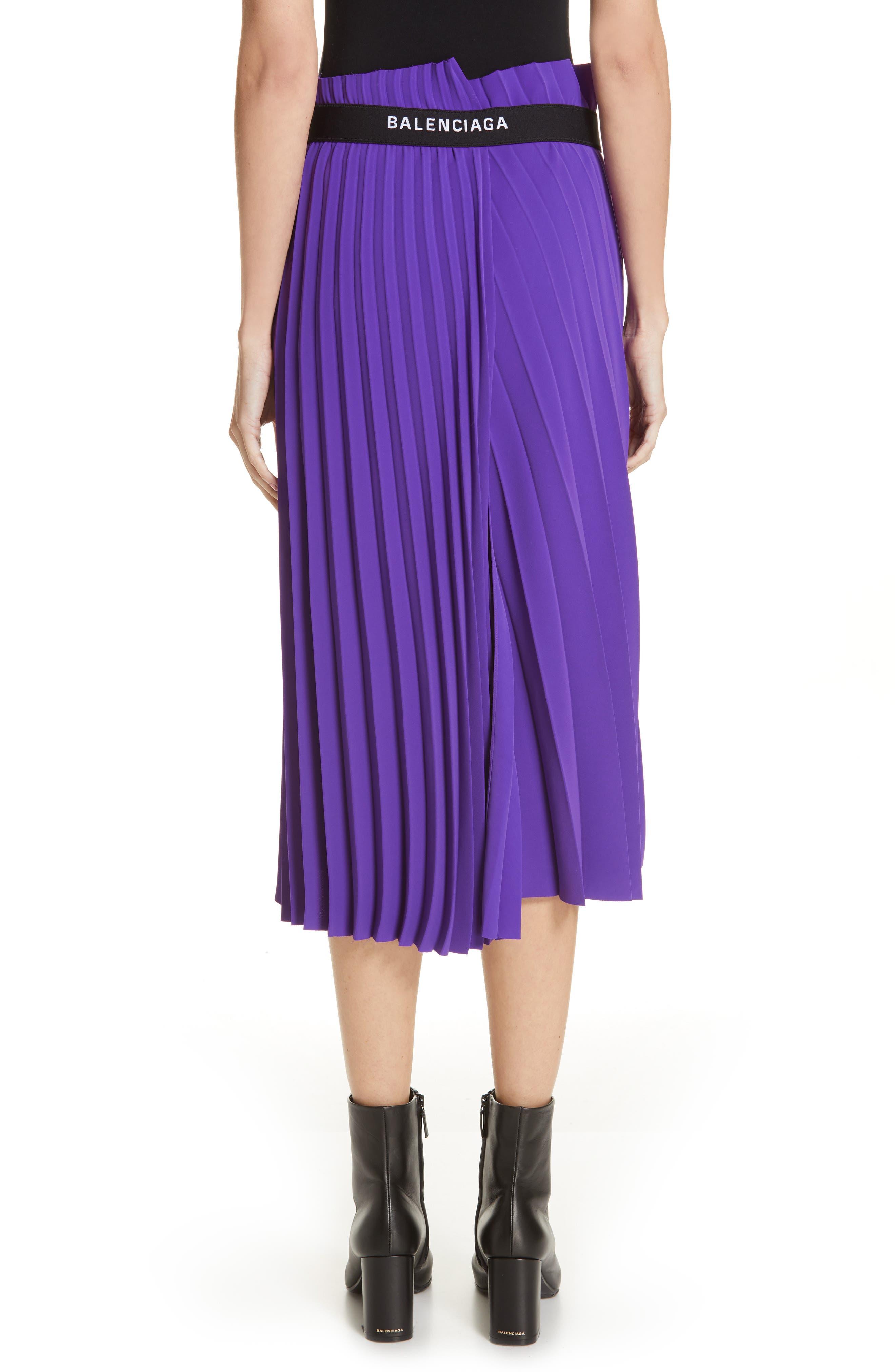 Fancy Asymmetrical Pleated Crepe Skirt,                             Alternate thumbnail 2, color,                             ULTRAVIOLET