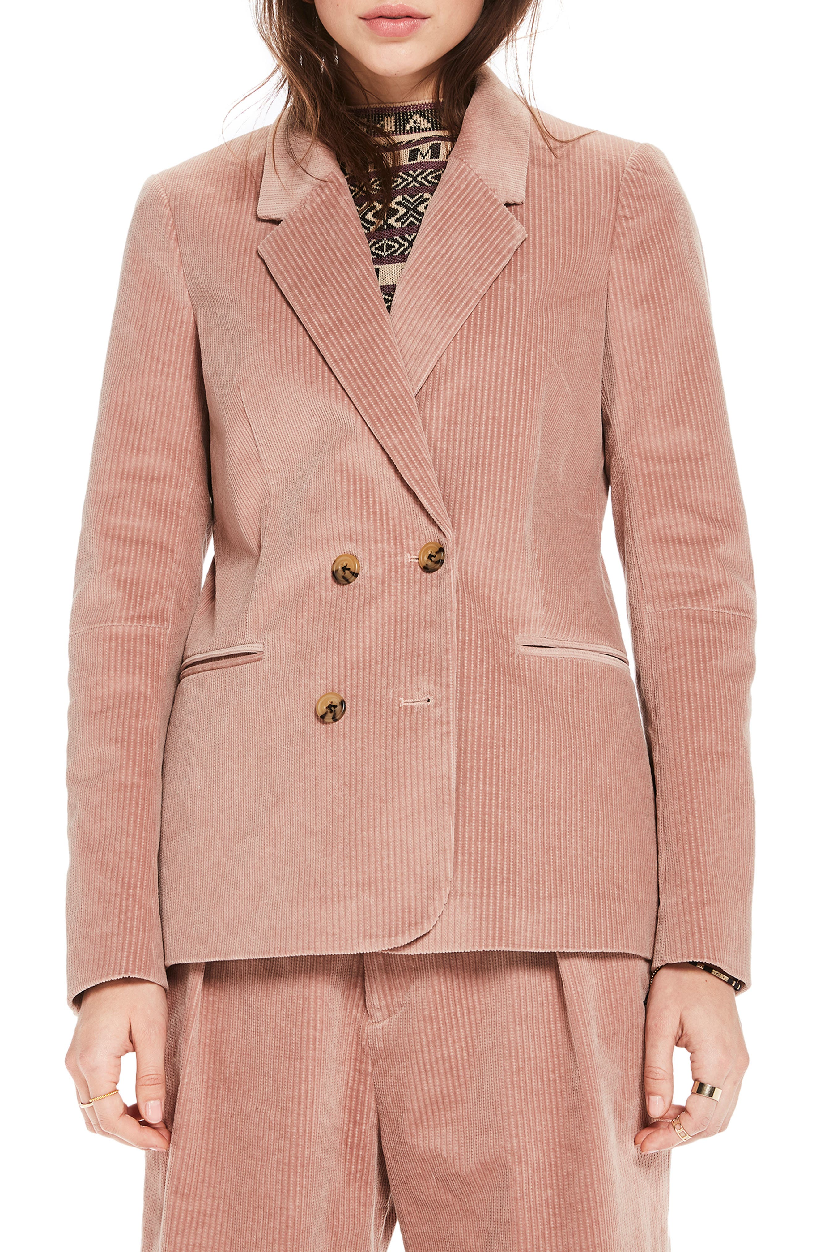 Double Breasted Stretch Corduroy Blazer,                         Main,                         color, MISTY PINK