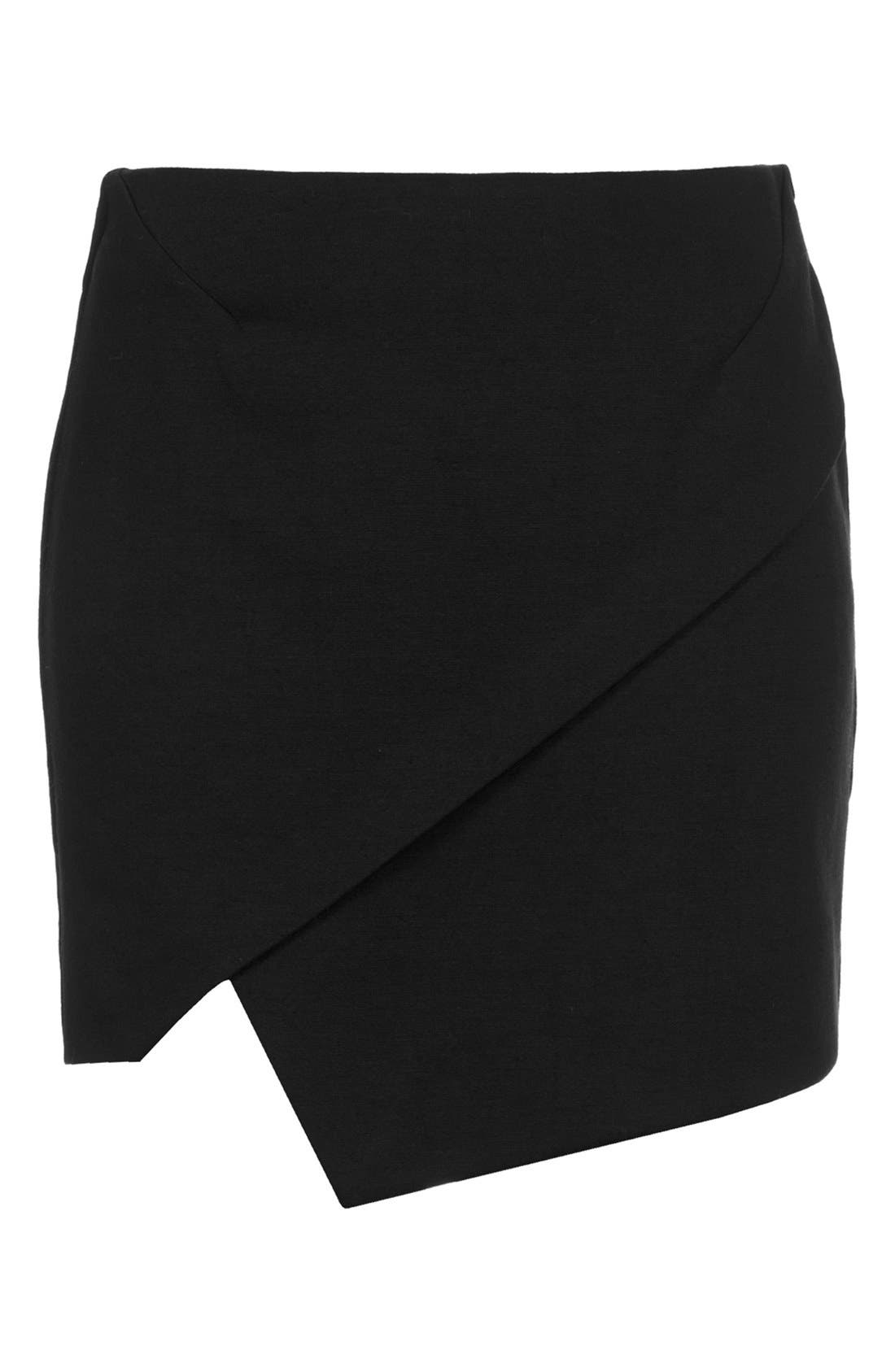 TOPSHOP,                             Asymmetrical Miniskirt,                             Alternate thumbnail 3, color,                             001
