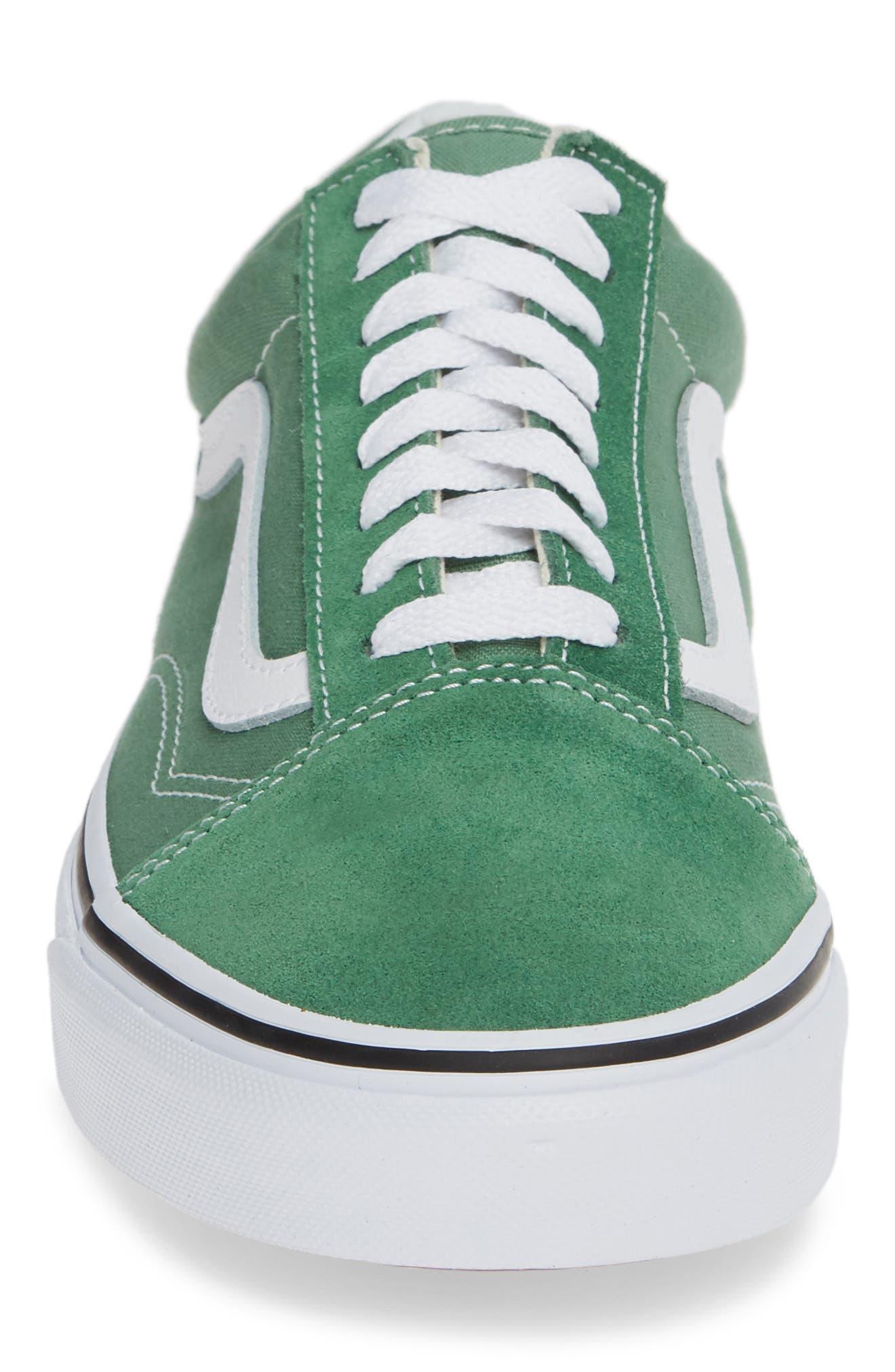 'Old Skool' Sneaker,                             Alternate thumbnail 4, color,                             DEEP GRASS GREEN/ TRUE WHITE