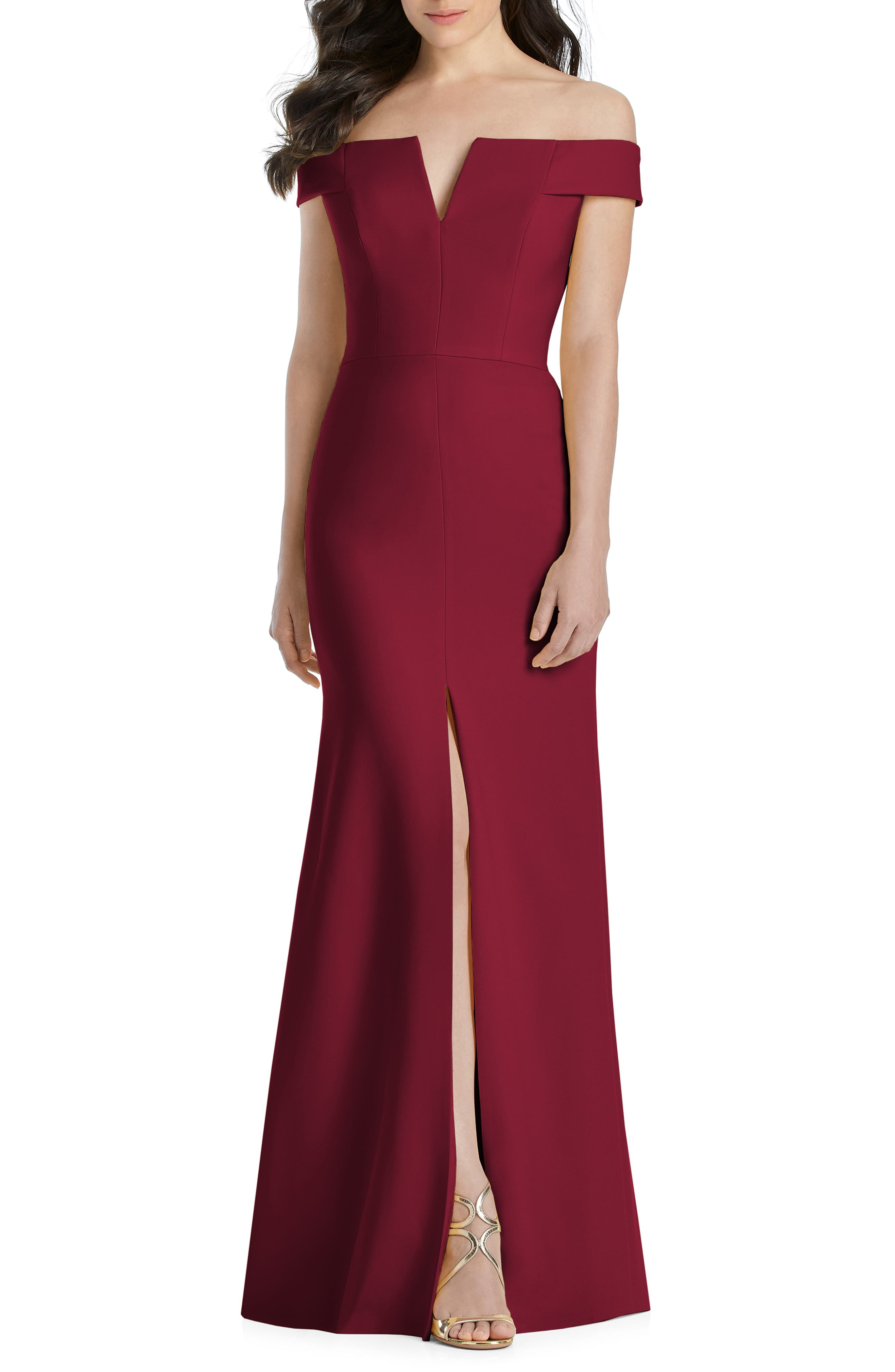 Dessy Collection Notched Off The Shoulder Crepe Gown, Burgundy