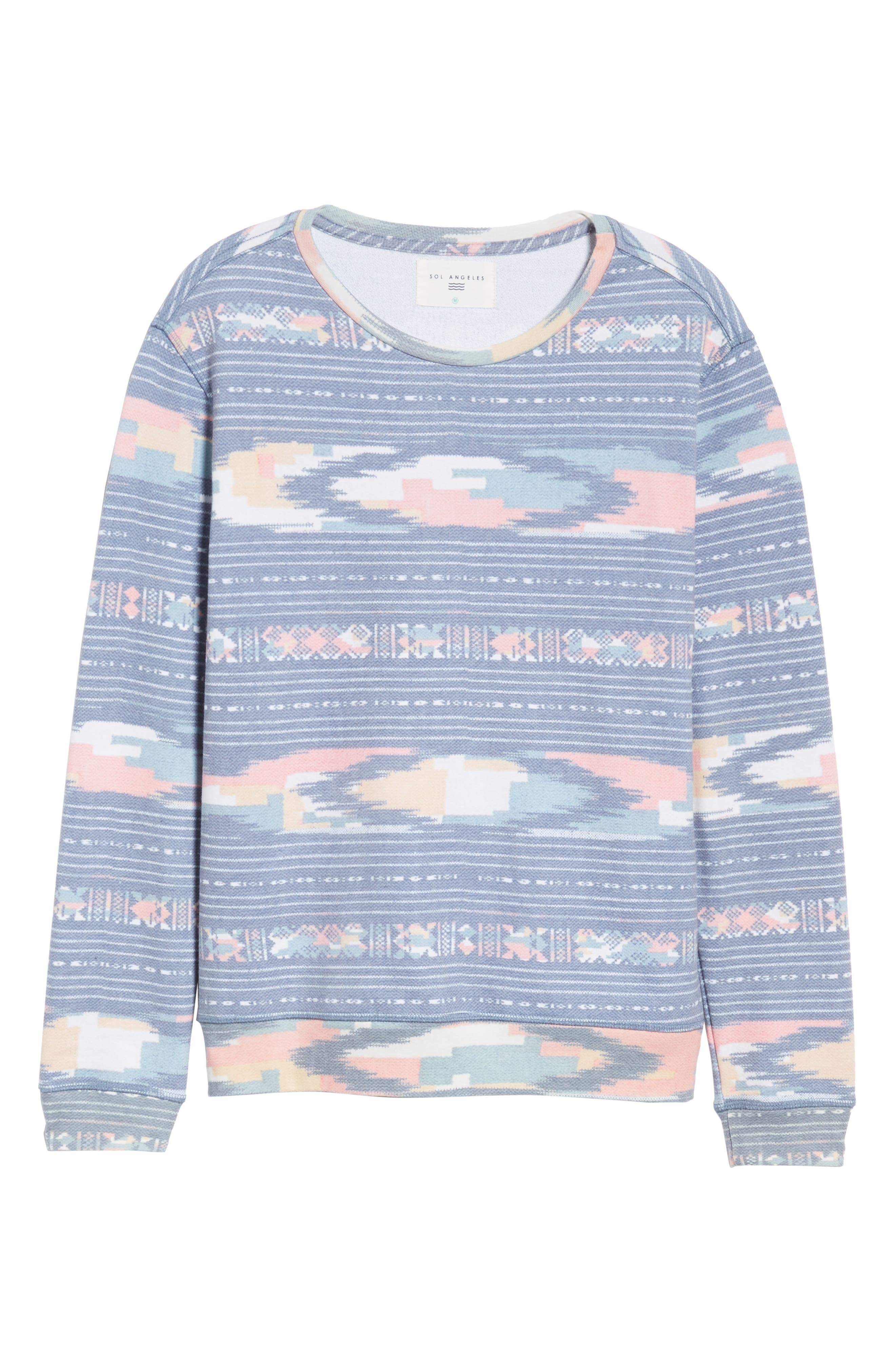 Sunset Ikat Crewneck Pullover,                             Alternate thumbnail 6, color,                             400