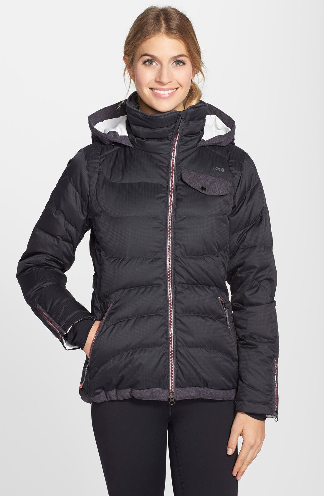 'Alta' Hooded Downglow<sup>™</sup> Quilted Jacket,                             Main thumbnail 1, color,                             001