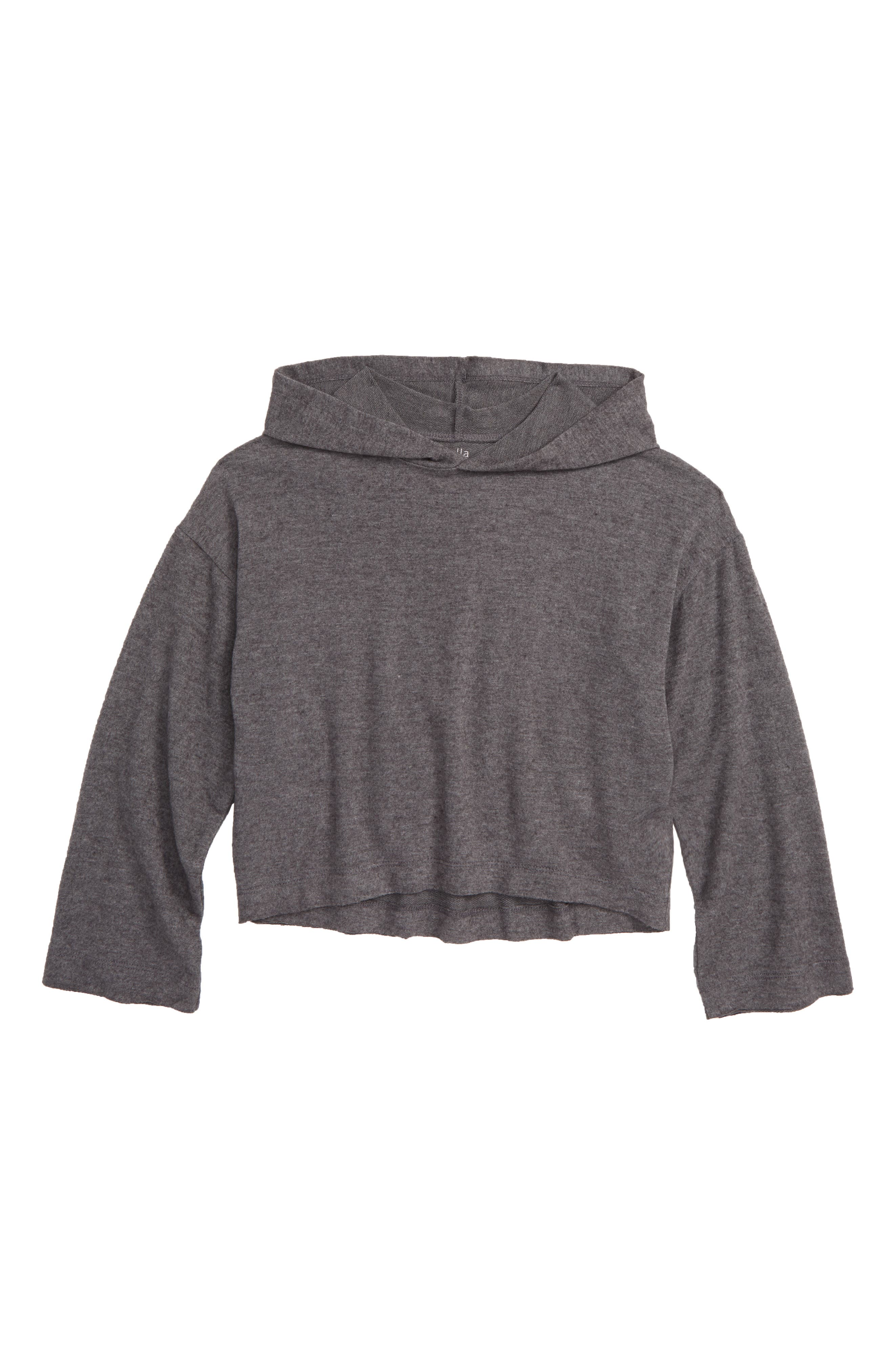 Boxy Hooded Pullover,                         Main,                         color, GREY CHARCOAL HEATHER