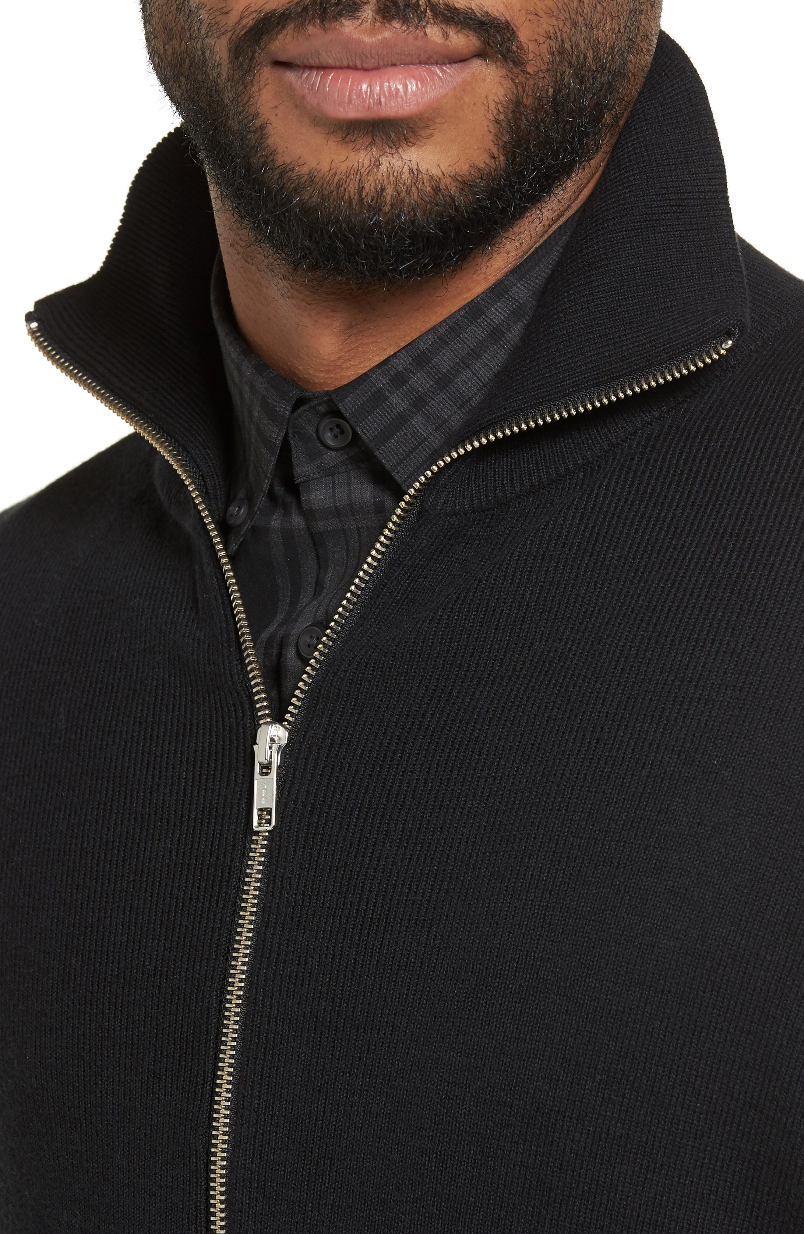 Zip Front Sweater Jacket,                             Alternate thumbnail 4, color,                             BLACK