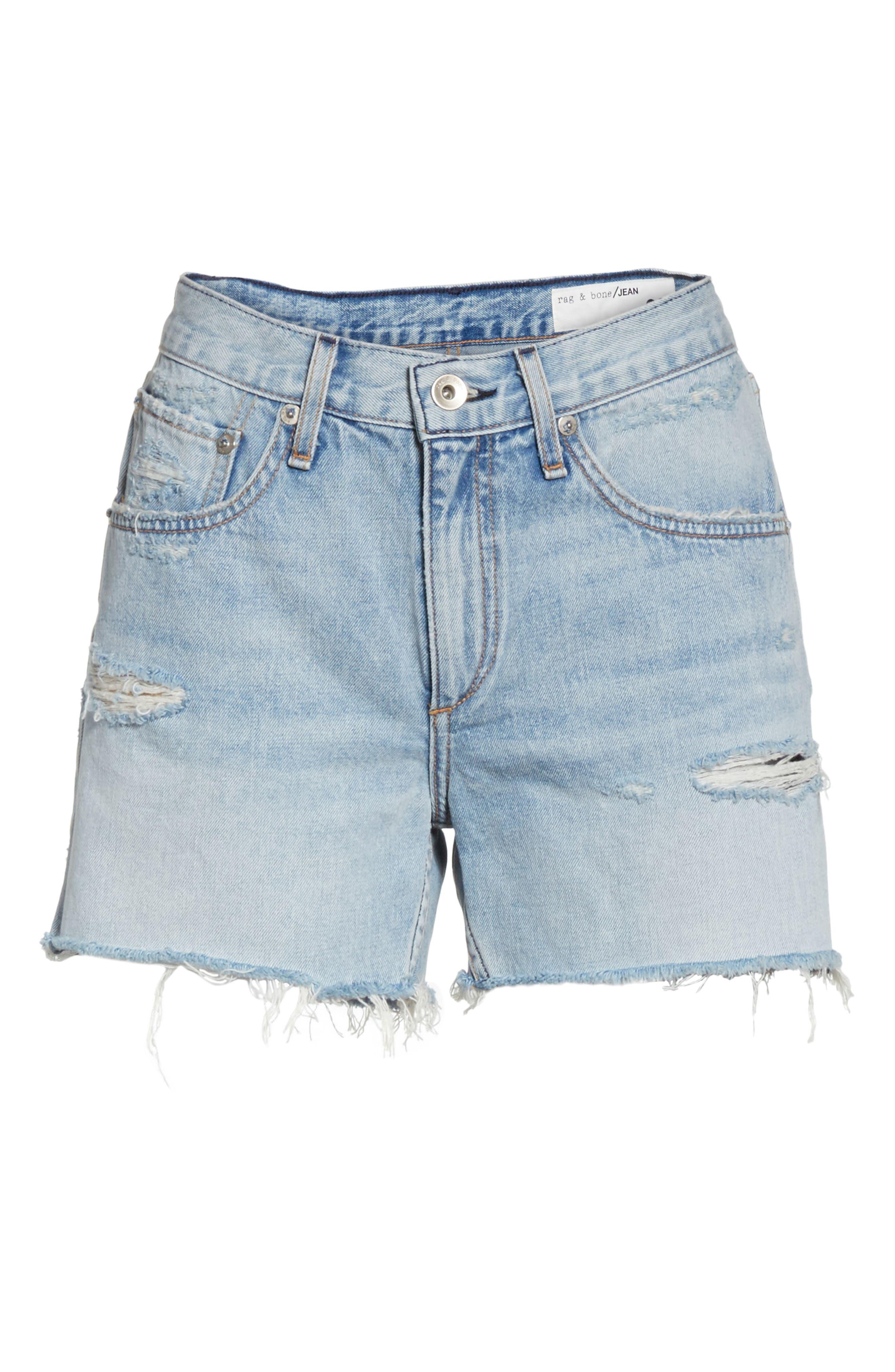 Boy Fray Denim Shorts,                             Alternate thumbnail 6, color,                             450