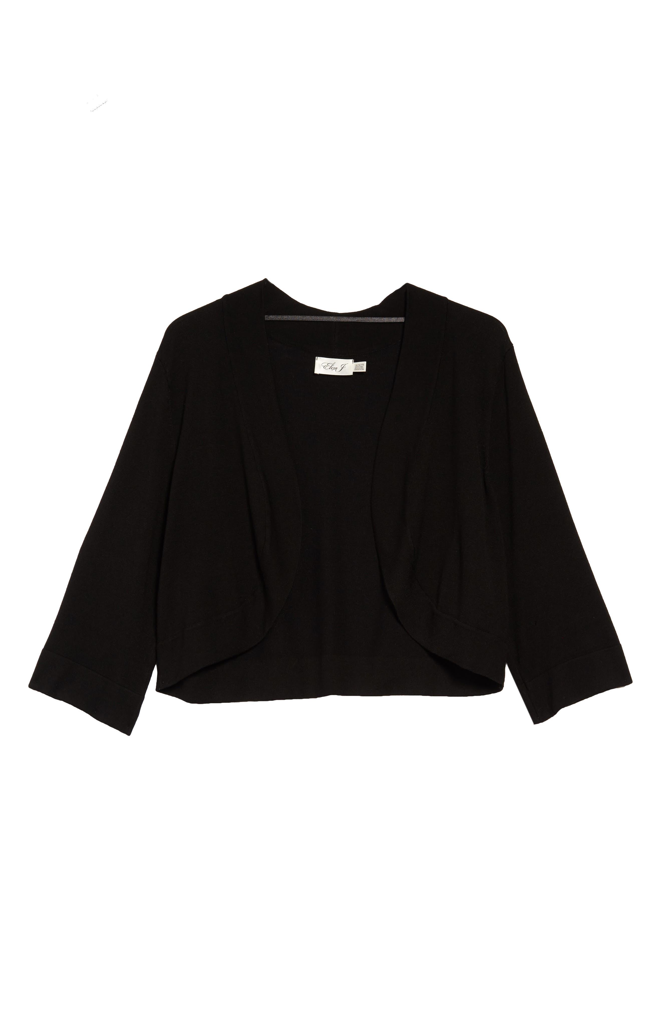 Three Quarter Sleeve Bolero Cardigan,                         Main,                         color, BLACK