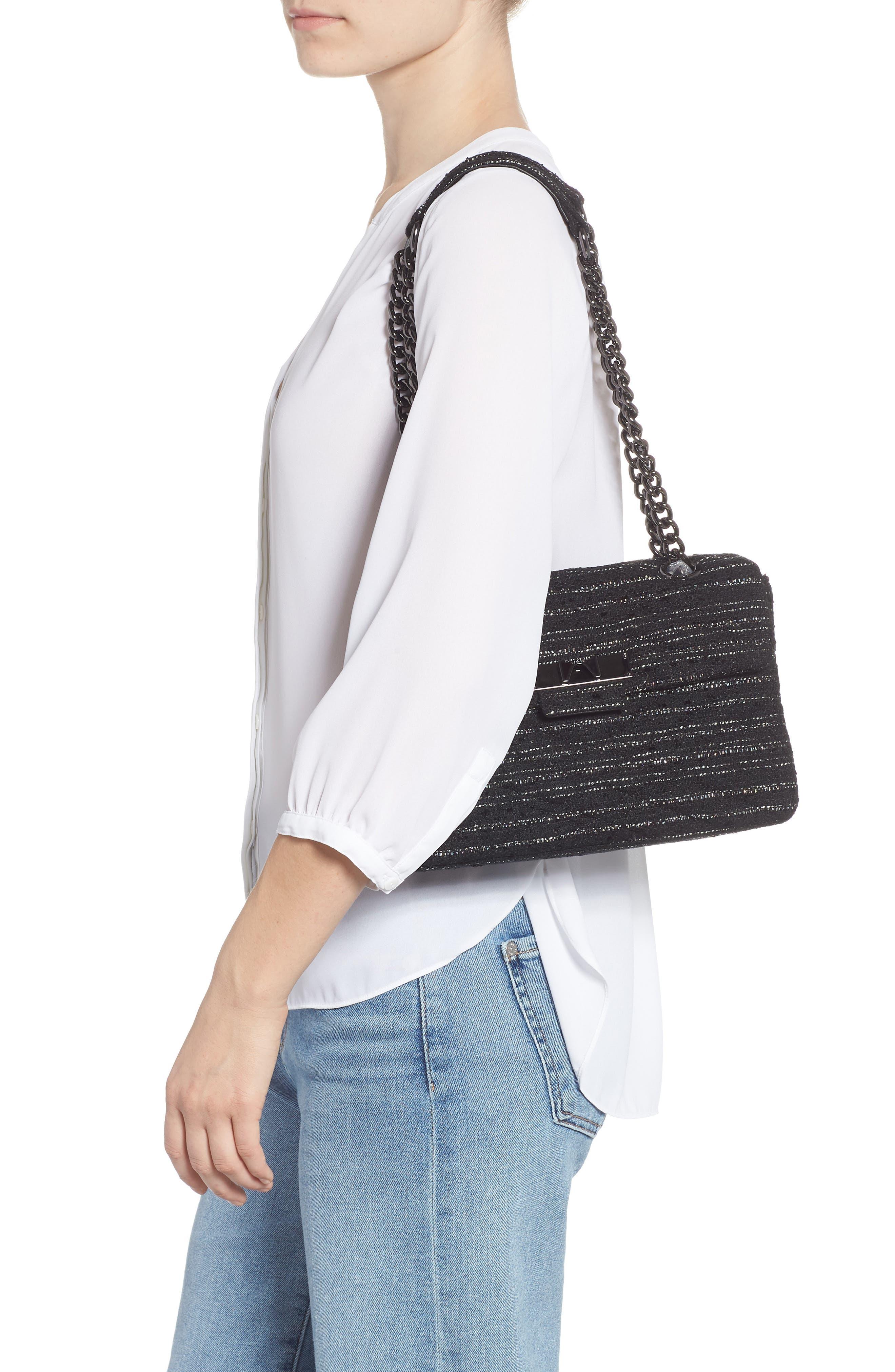 Mayfair Quilted Tweed Shoulder Bag,                             Alternate thumbnail 2, color,                             BLACK