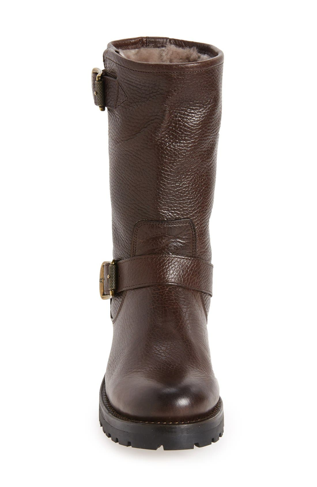 Natalie Buckle Strap Engineer Genuine Shearling Lined Boot,                             Alternate thumbnail 3, color,                             200