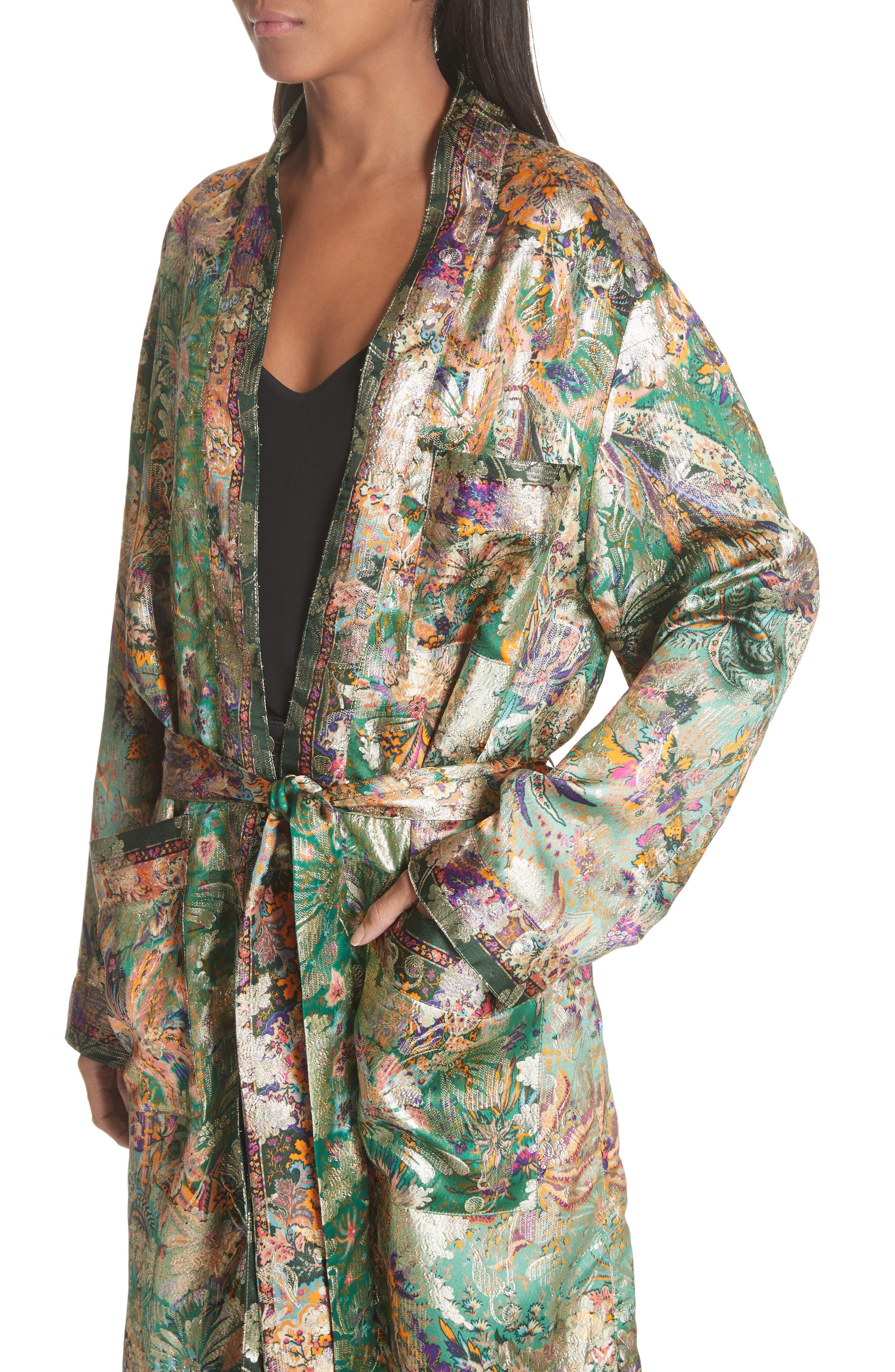 Tie Waist Silk Blend Metallic Jacquard Jacket,                             Alternate thumbnail 4, color,