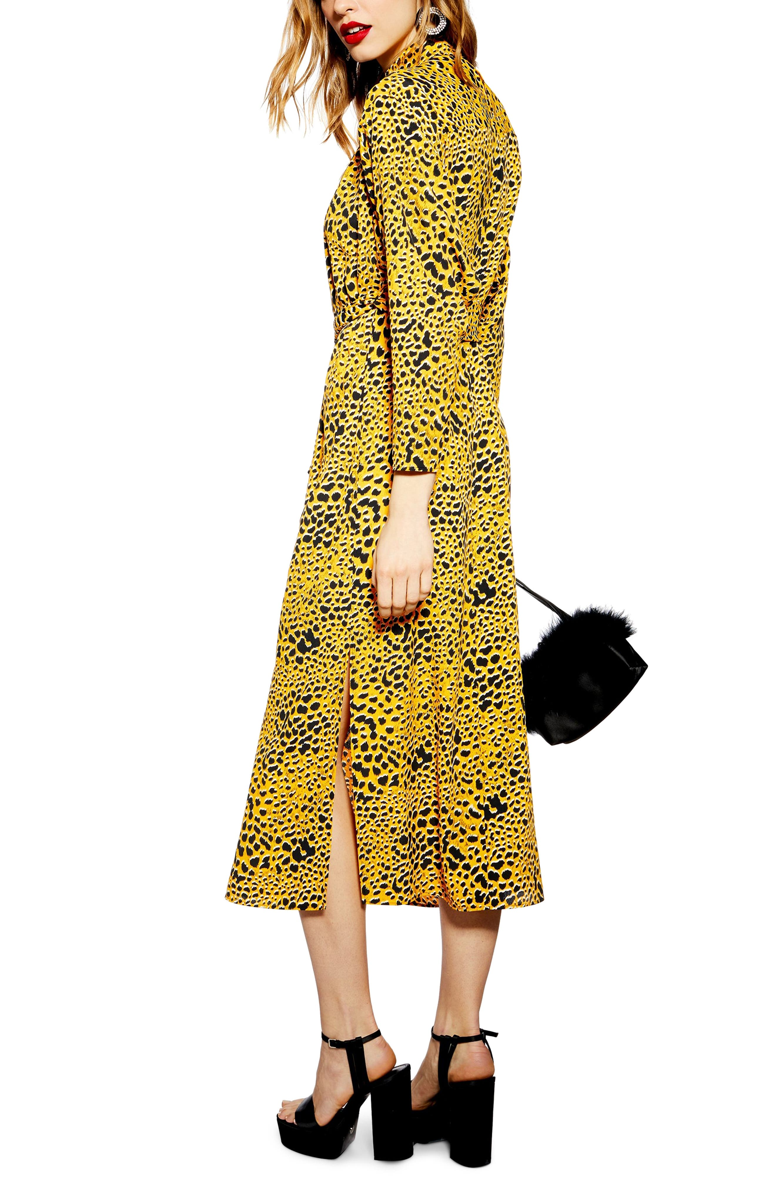 TOPSHOP,                             Abstract Animal Print Midi Dress,                             Alternate thumbnail 2, color,                             YELLOW MULTI