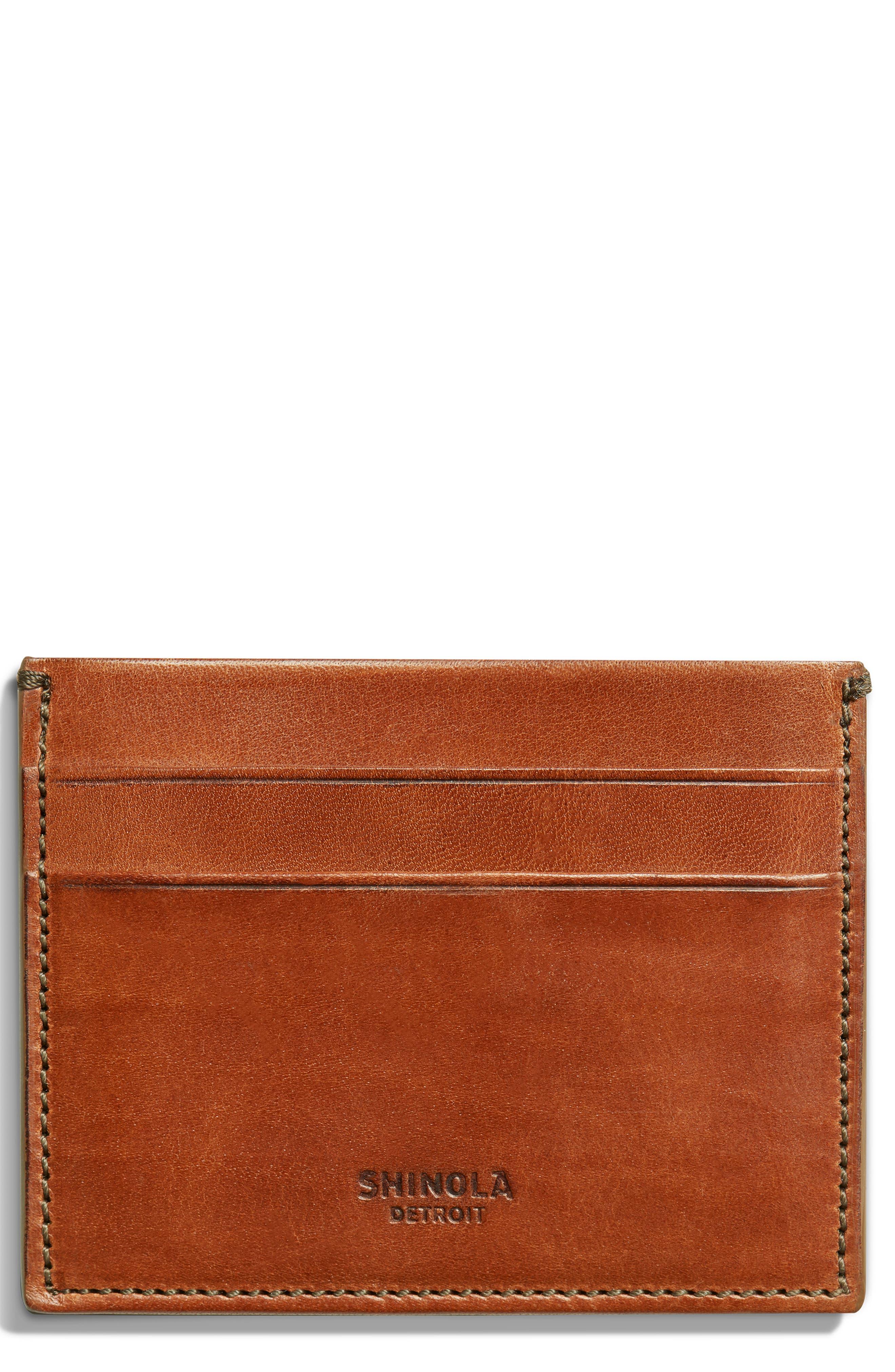 Harness Leather Card Case,                             Main thumbnail 1, color,                             BOURBON