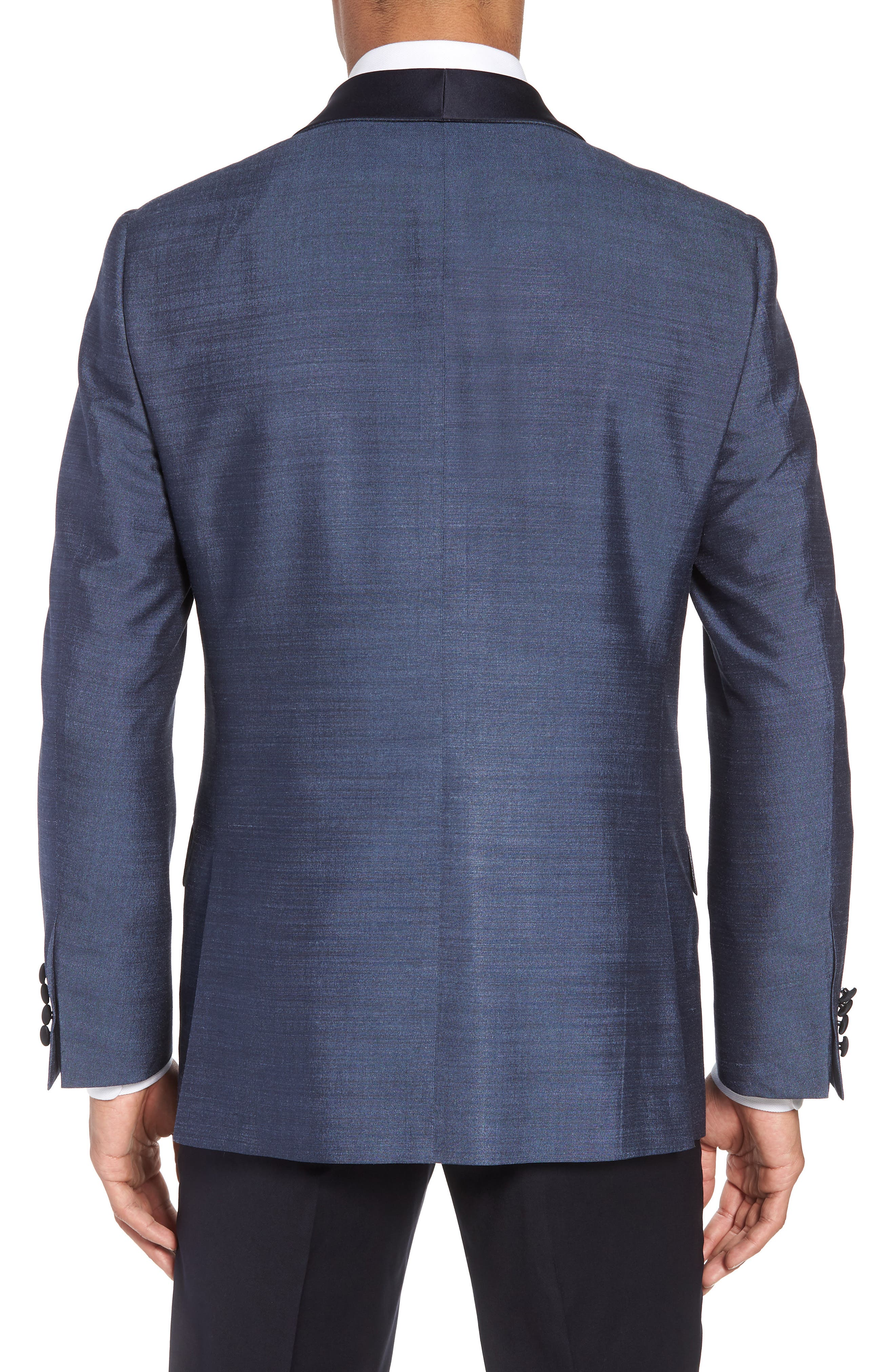 Classic B Fit Silk Dinner Jacket,                             Alternate thumbnail 2, color,                             SLATE BLUE SOLID