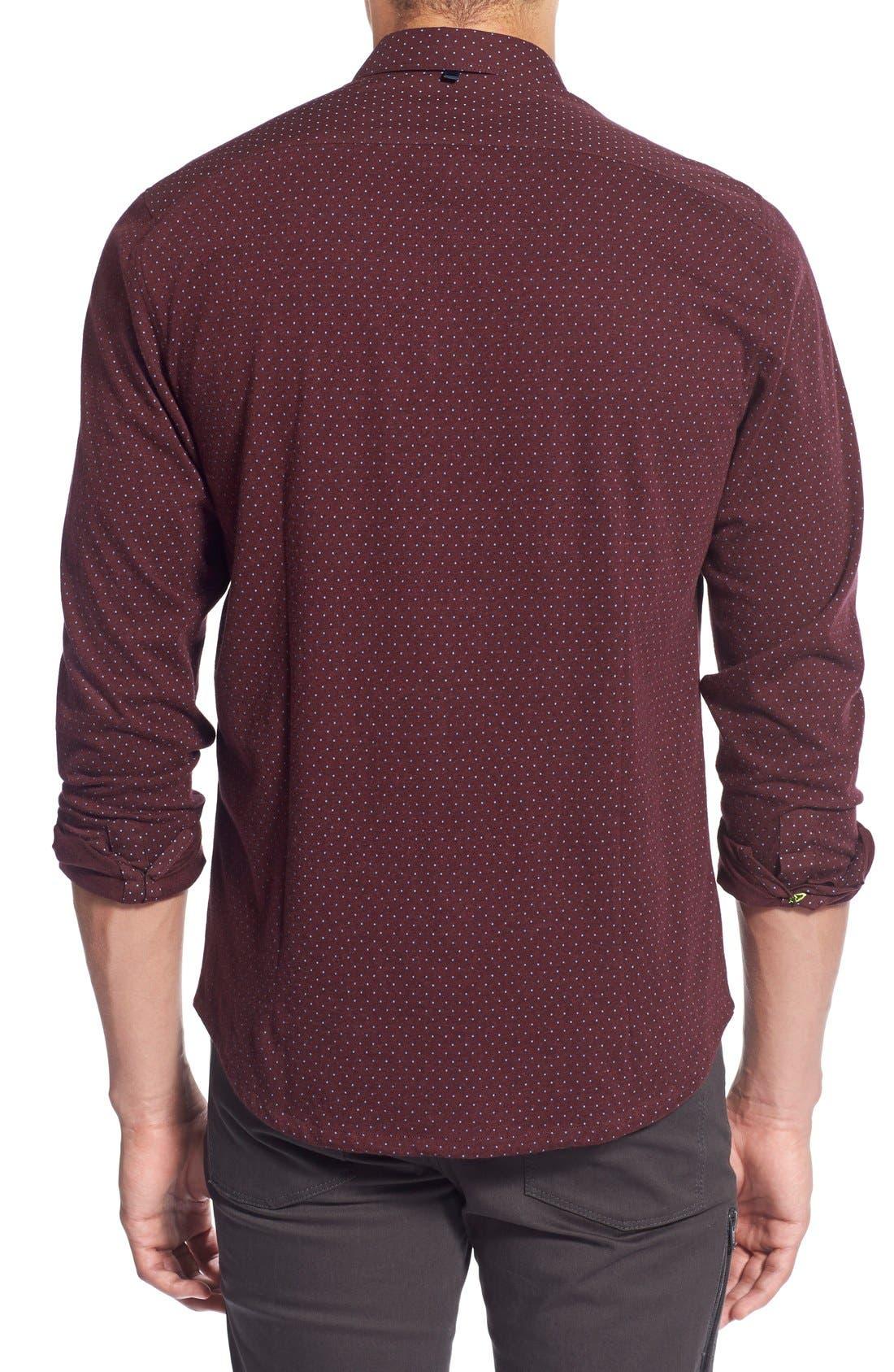 'Reworkd' Trim Fit Dot Print Mixed Media Sport Shirt,                             Alternate thumbnail 12, color,