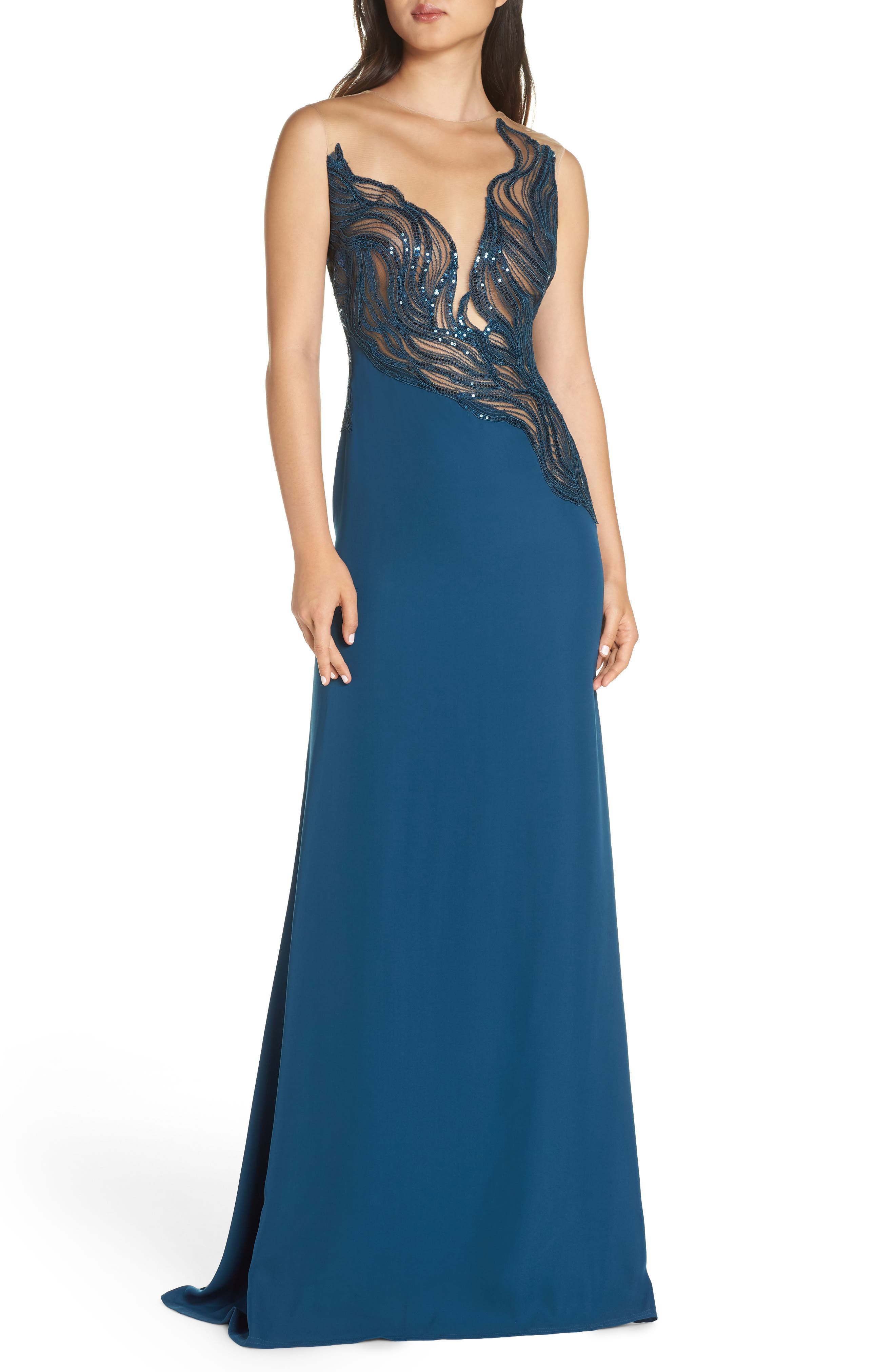 Tadashi Shoji Wave Sequin Illusion Gown, Blue