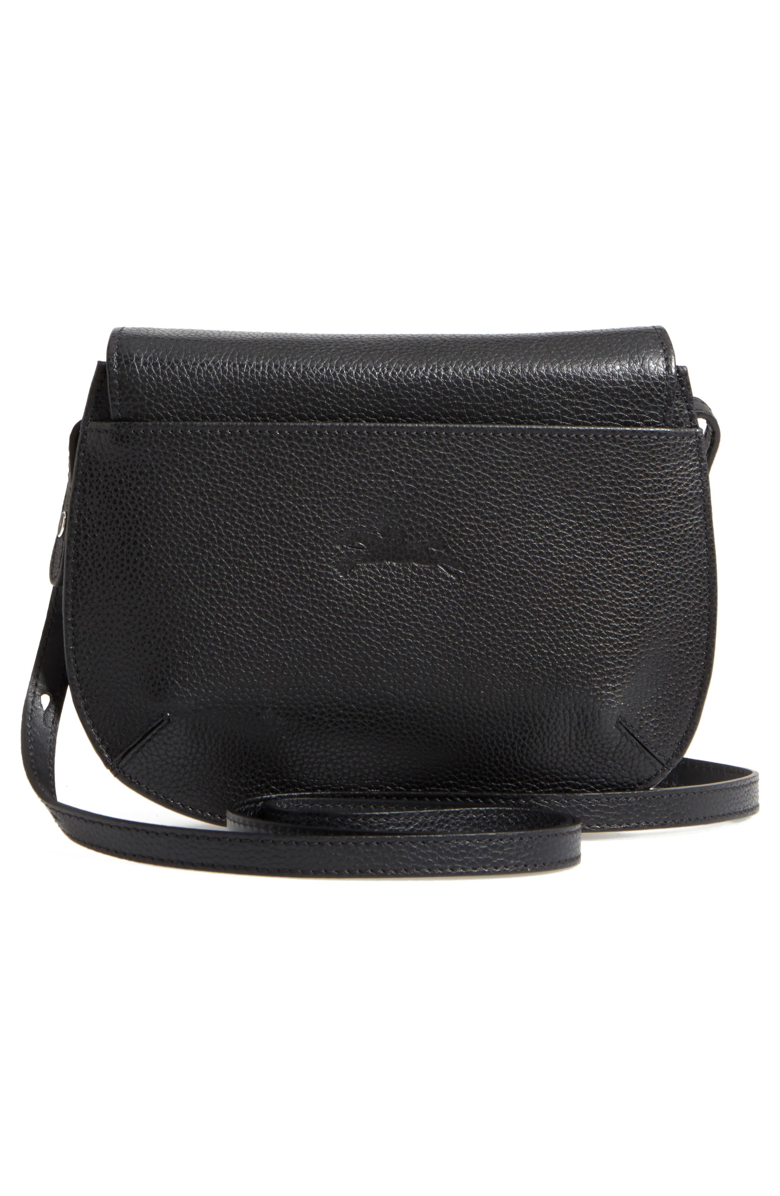 Small Le Foulonne Leather Crossbody Bag,                             Alternate thumbnail 3, color,                             BLACK