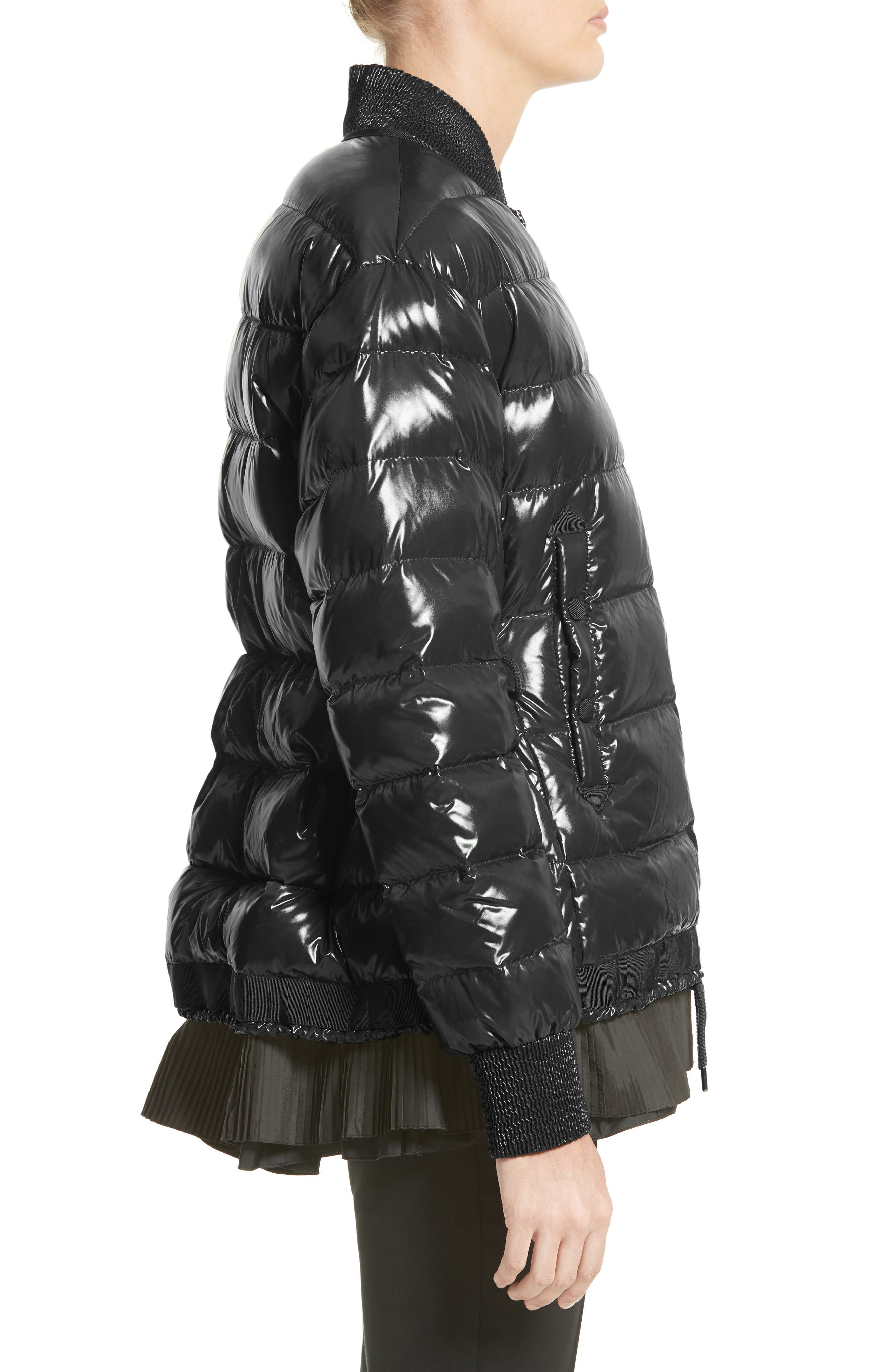 Lucy Peplum Down Puffer Jacket,                             Alternate thumbnail 3, color,                             001