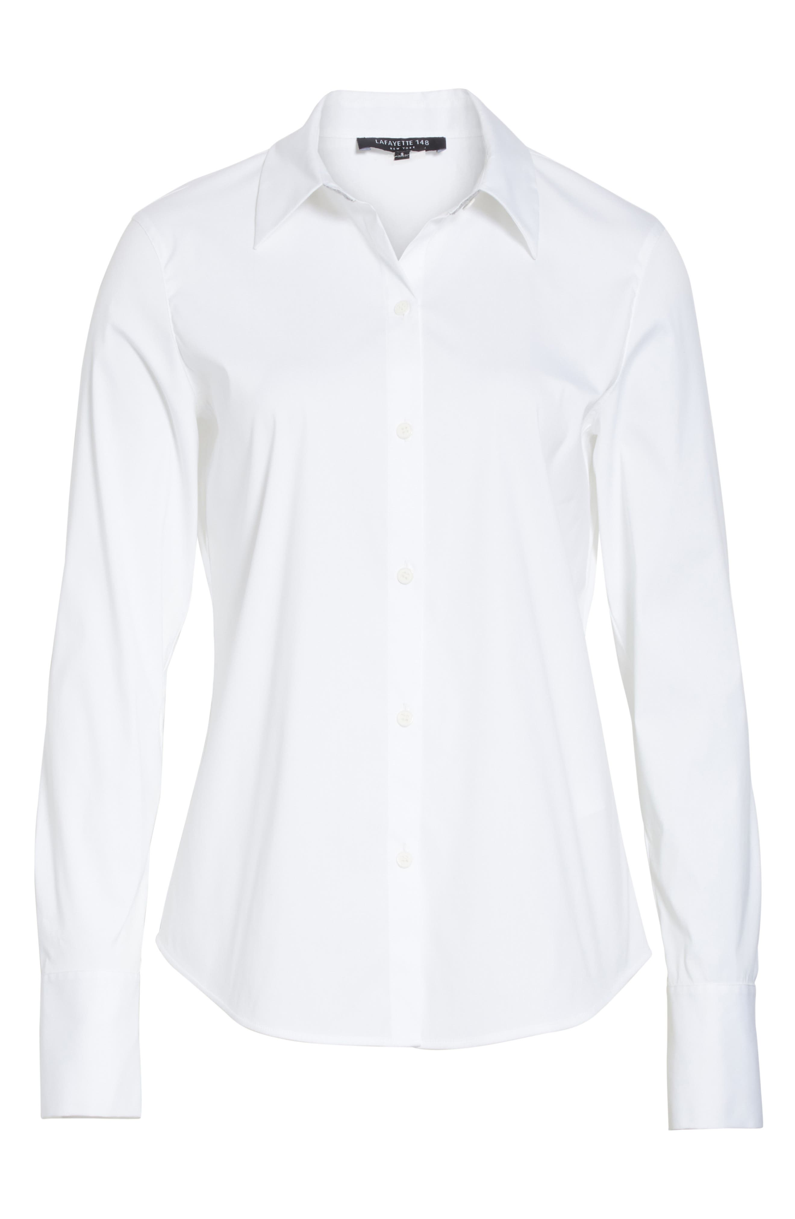 LAFAYETTE 148 NEW YORK,                             Linley Stretch Cotton Blouse,                             Alternate thumbnail 6, color,                             WHITE