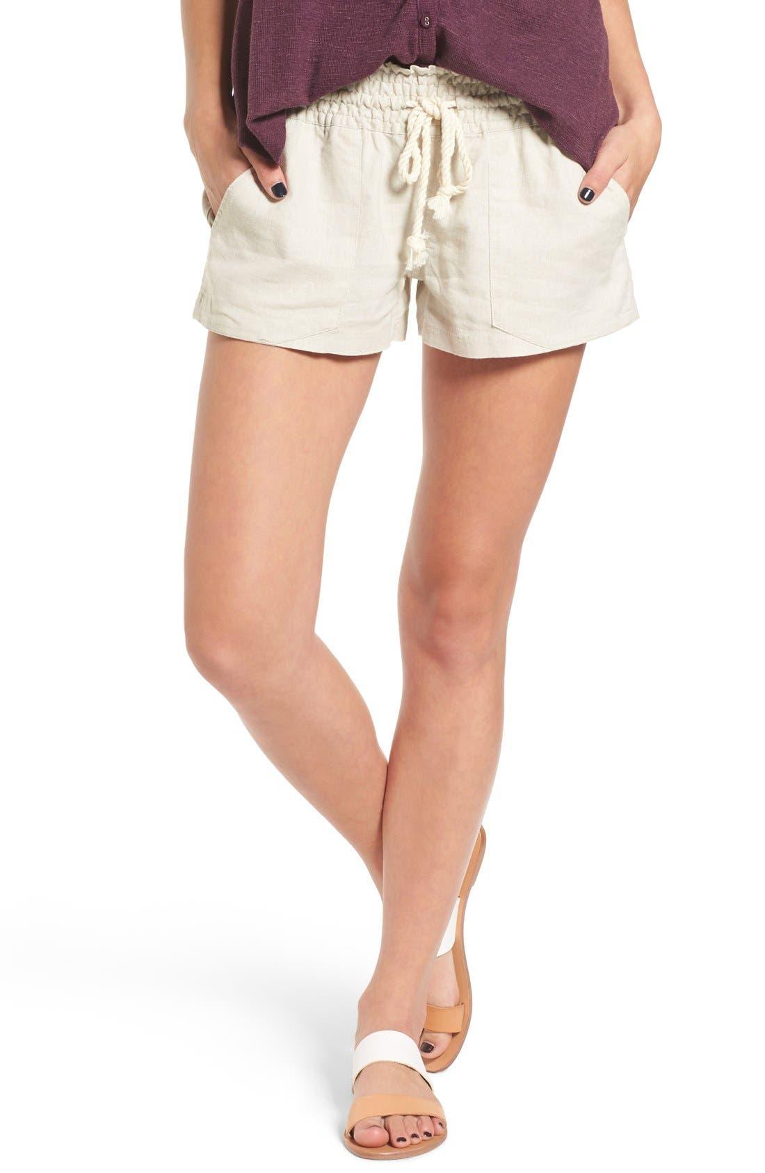 'Oceanside' Linen Blend Shorts,                             Main thumbnail 1, color,                             STONE