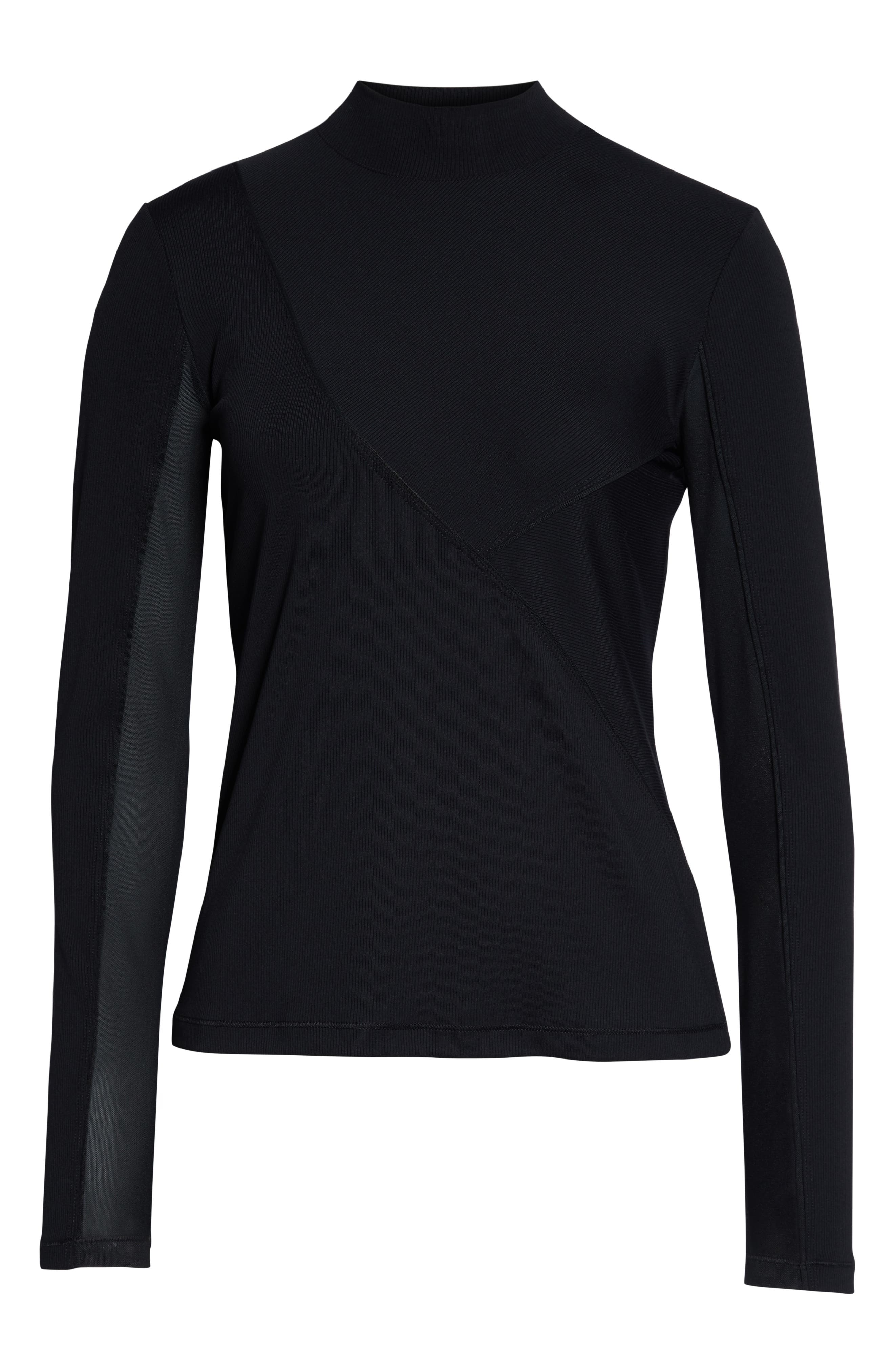 The Nike Pro HyperCool Women's Long Sleeve Ribbed Top,                             Alternate thumbnail 7, color,                             BLACK/ CLEAR