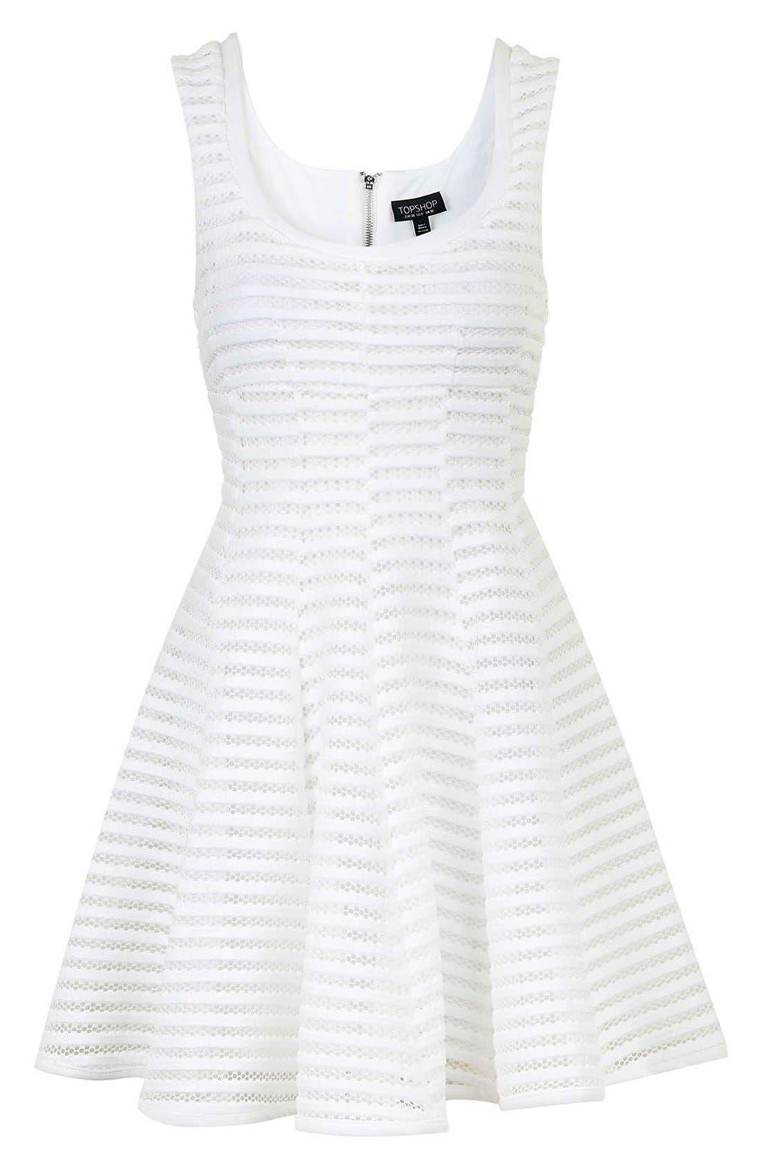 TOPSHOP,                             'Ozoi' StripeMesh Skater Dress,                             Alternate thumbnail 2, color,                             100