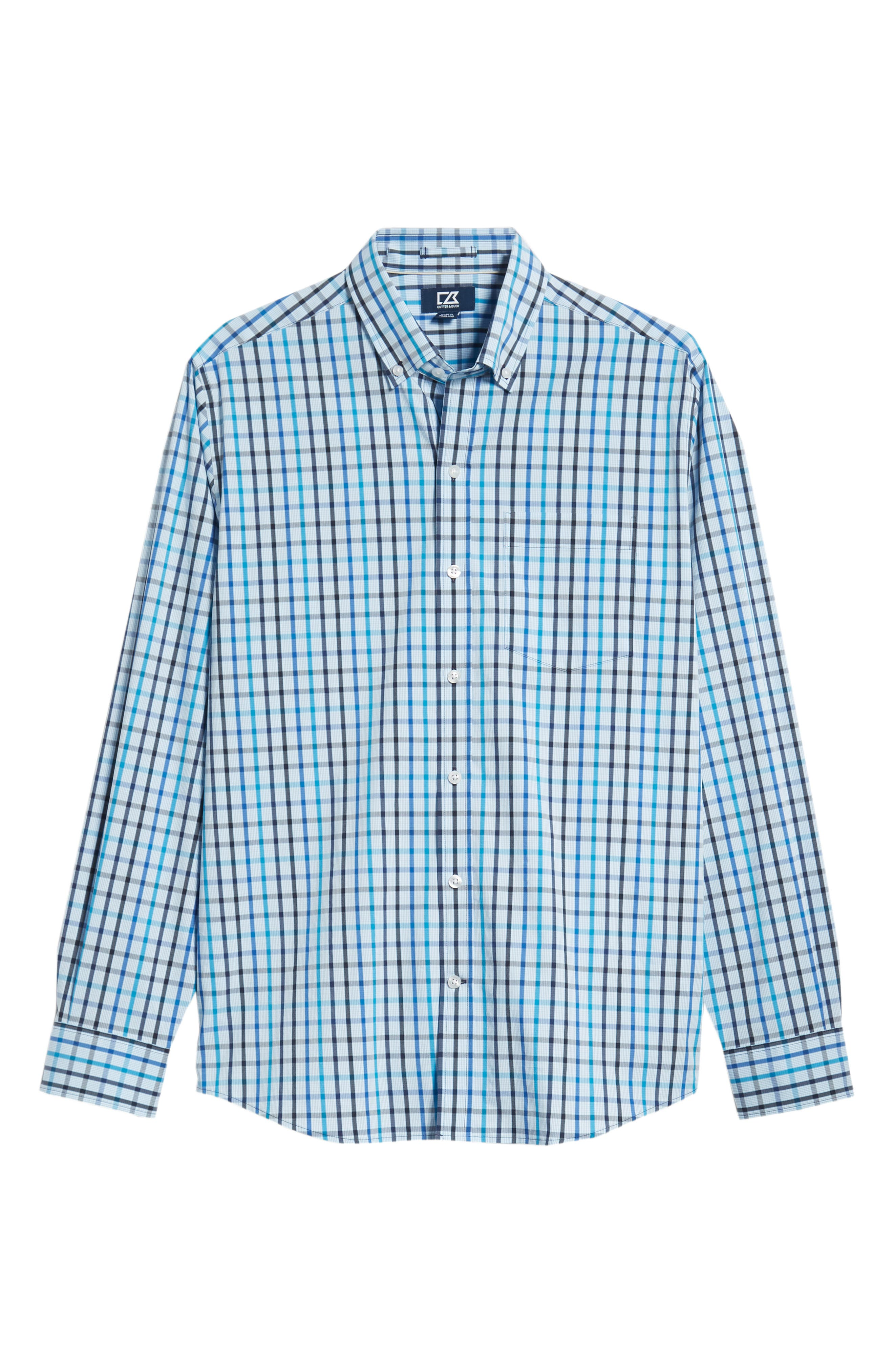 Clarence Regular Fit Check Sport Shirt,                             Alternate thumbnail 5, color,                             LIBERTY NAVY