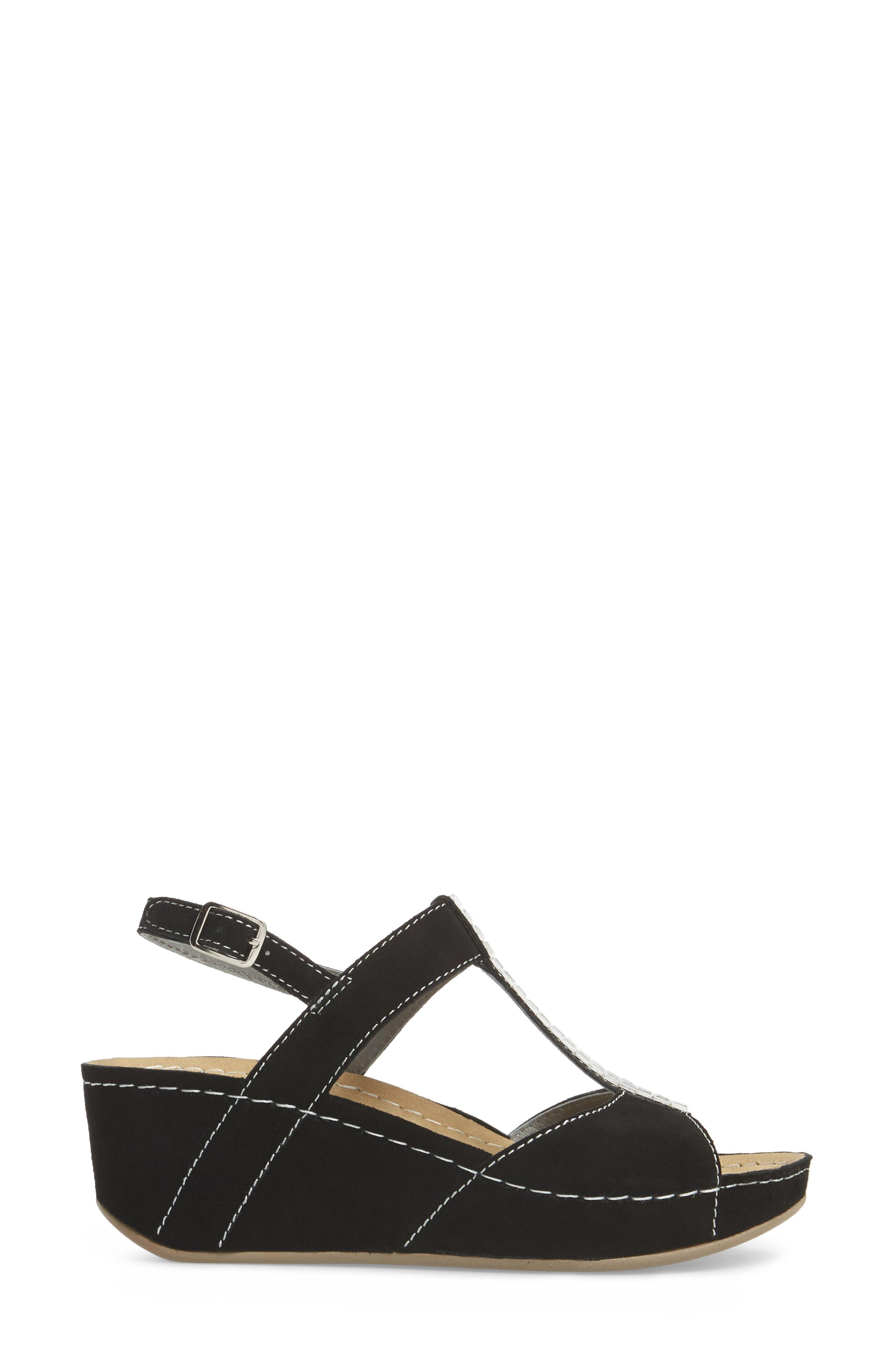 Bubbly Embellished T-Strap Wedge Sandal,                             Alternate thumbnail 3, color,                             BLACK SUEDE
