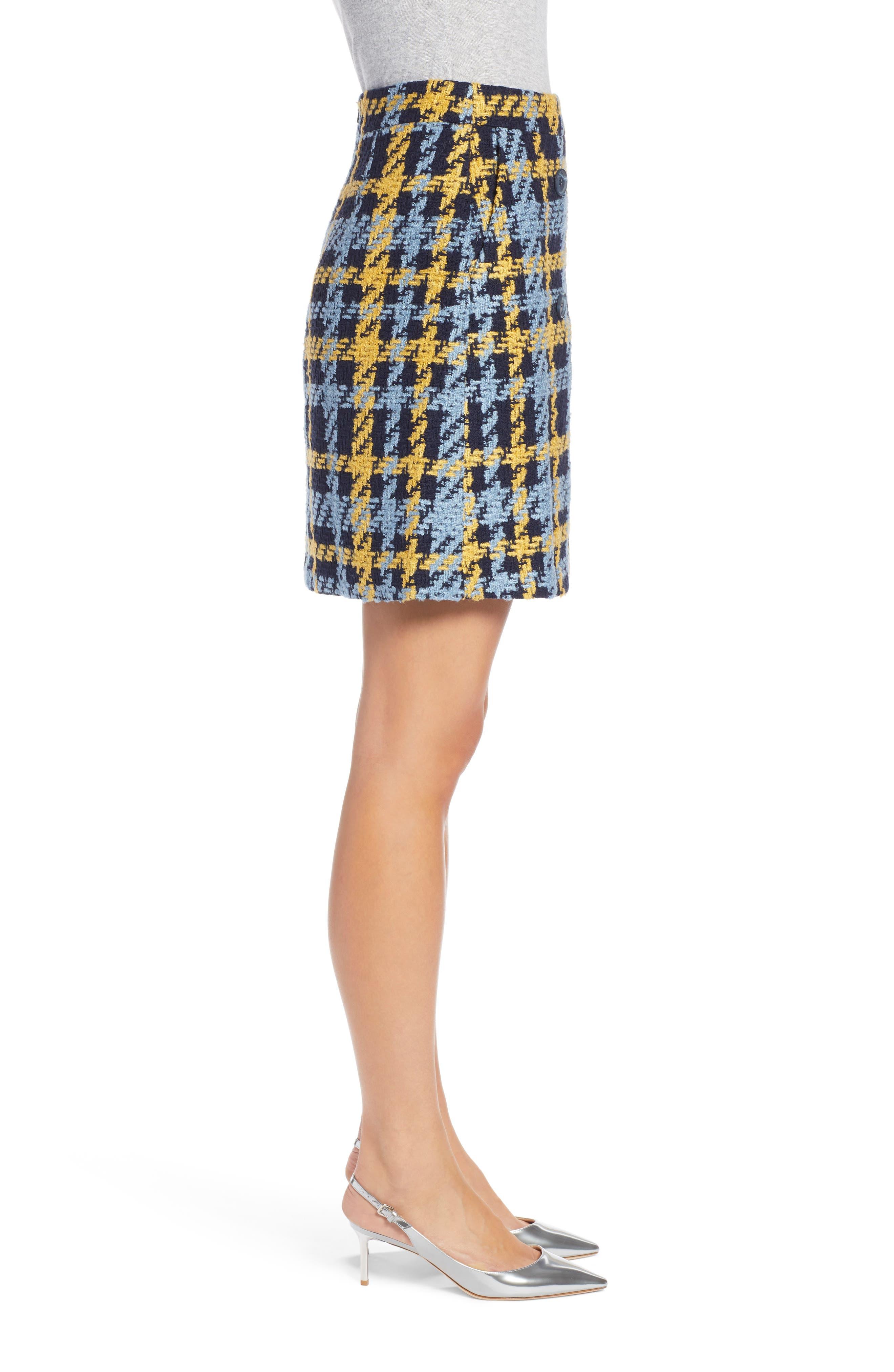 Button Detail Plaid Skirt,                             Alternate thumbnail 3, color,                             410