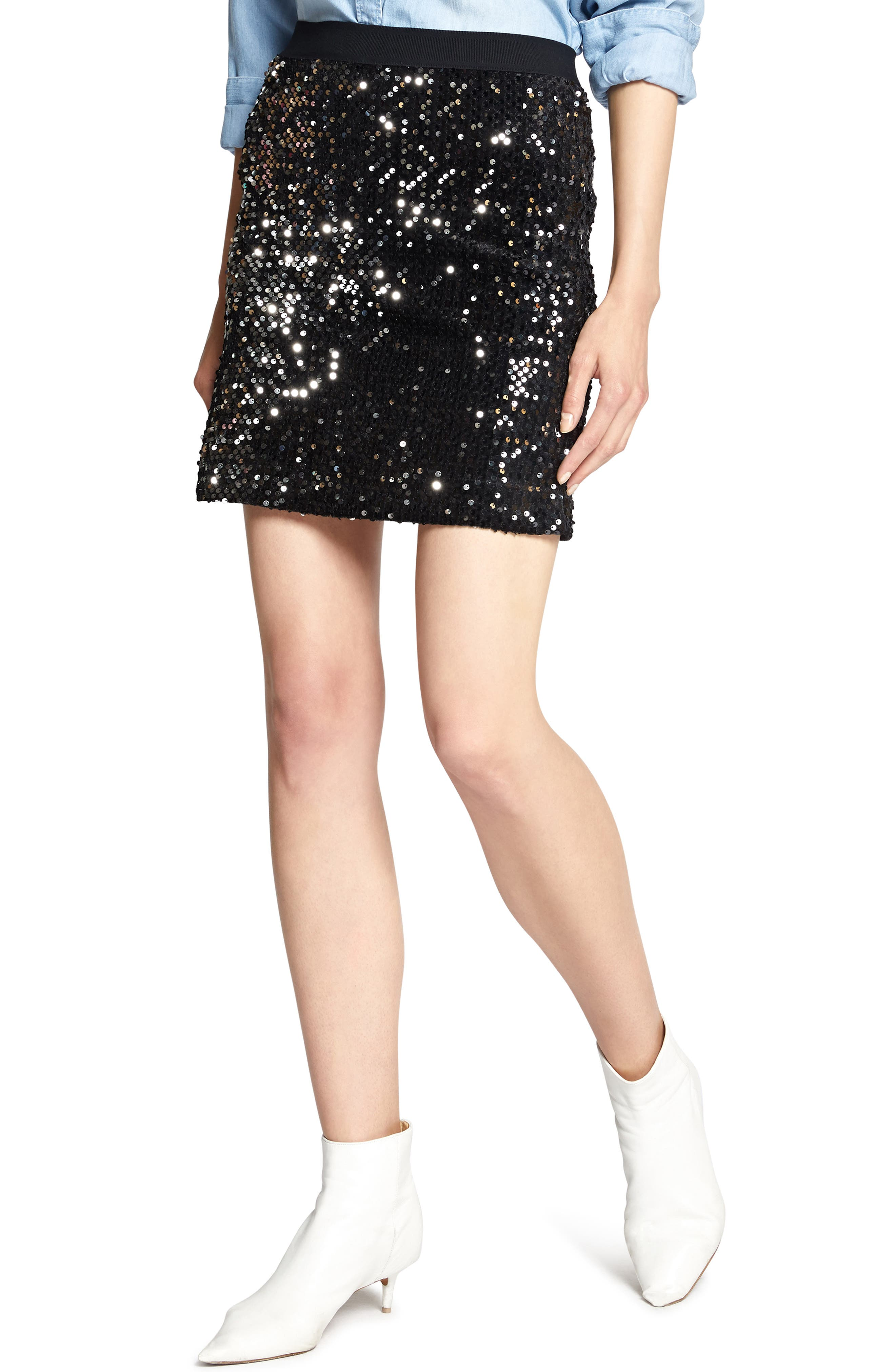 Ready For the Night Sequins Skirt,                             Main thumbnail 1, color,                             BLACK/ SILVER