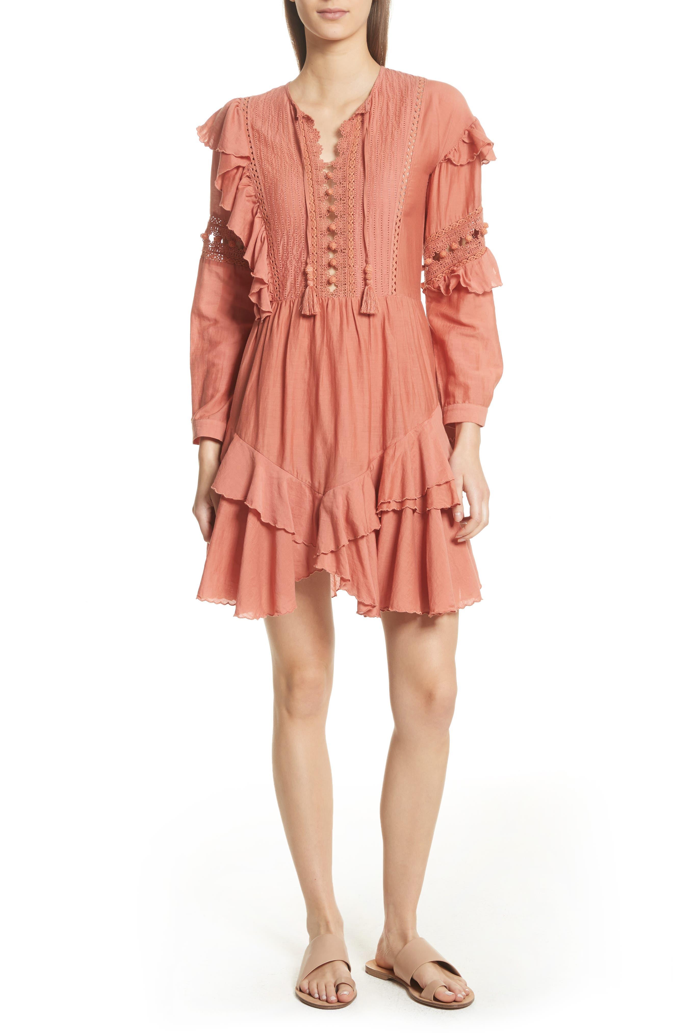 Weatherly Crochet Pompom Dress,                             Main thumbnail 1, color,