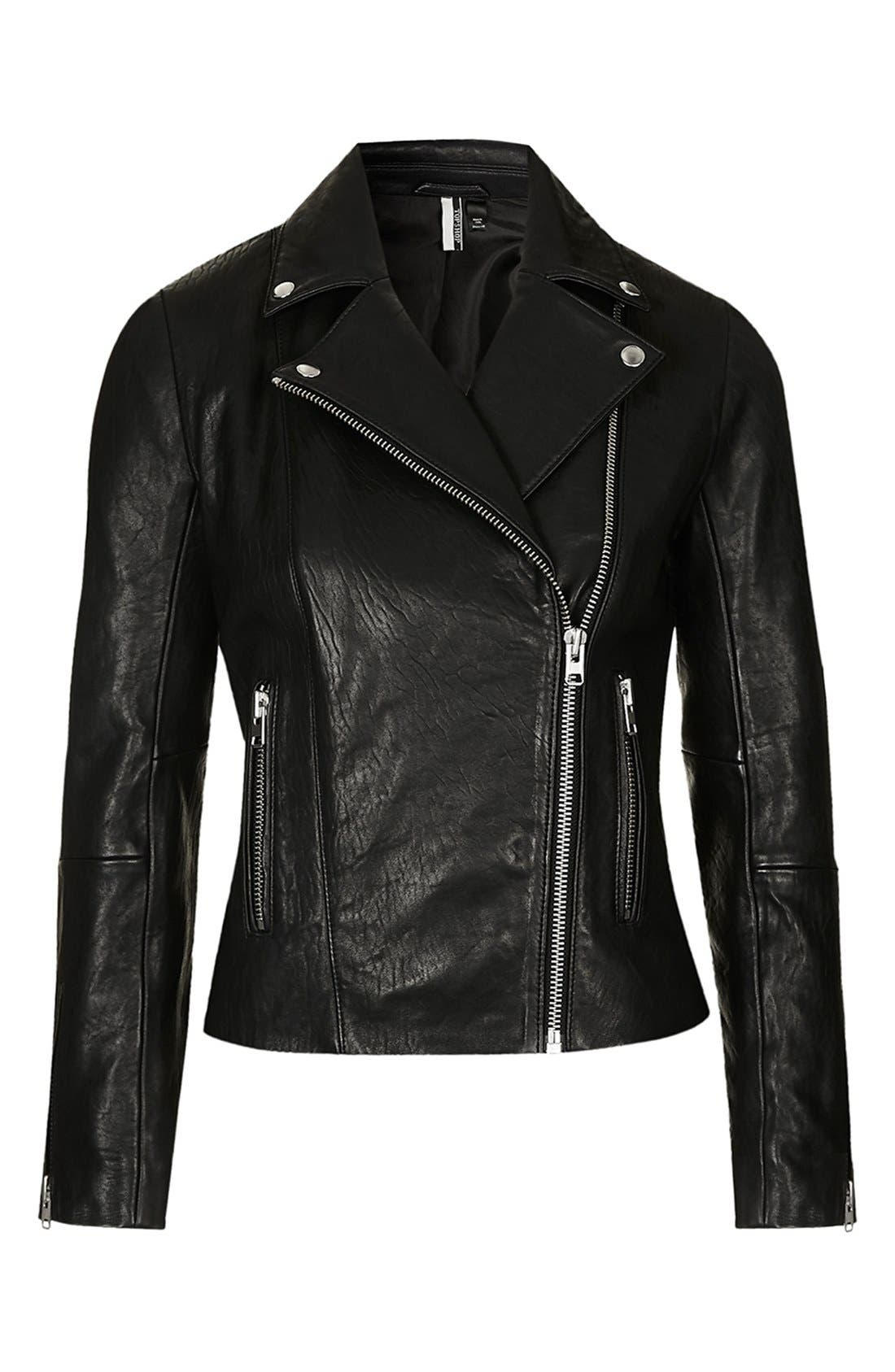 Leather Biker Jacket,                             Alternate thumbnail 6, color,                             001