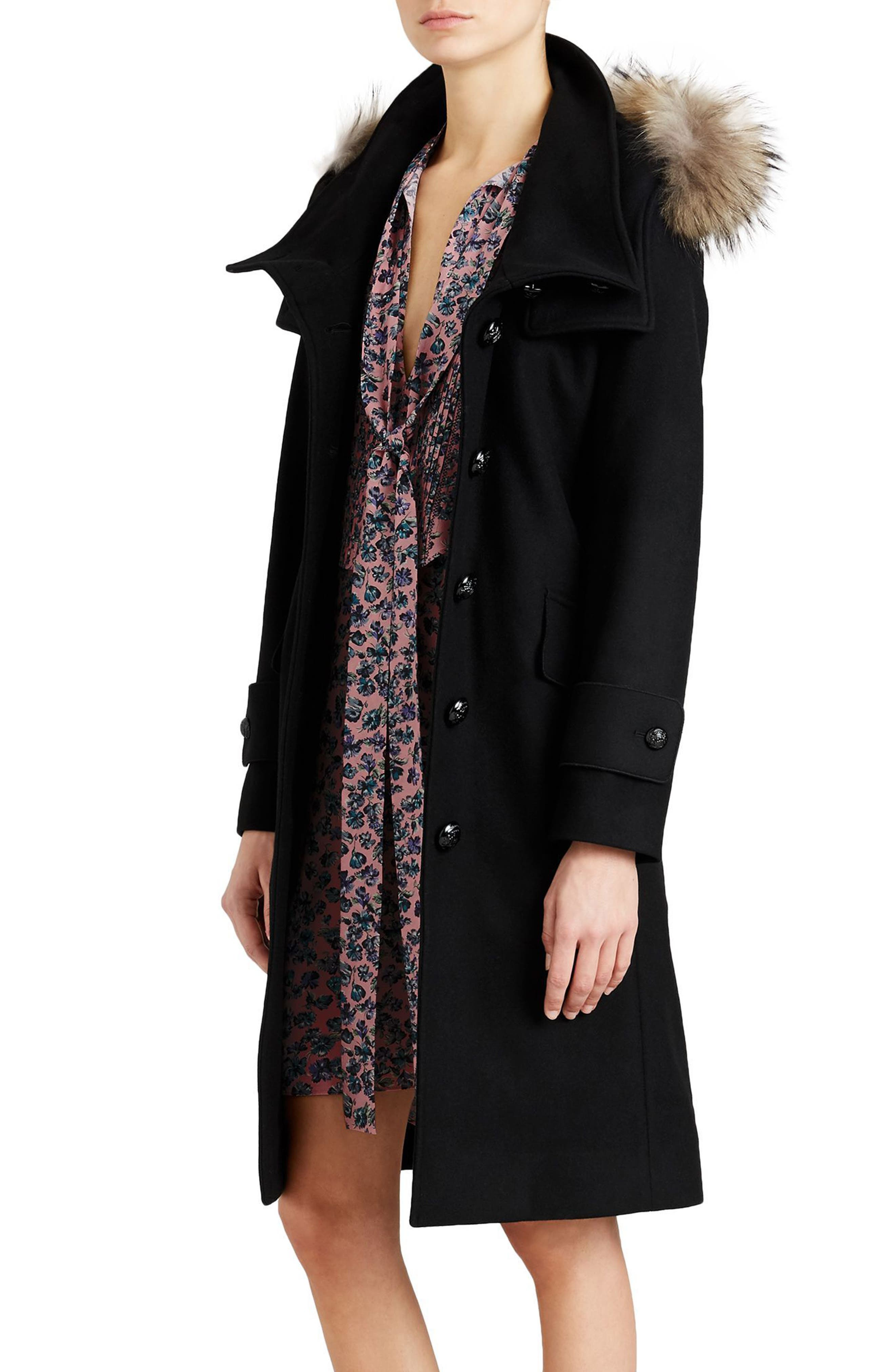 Claybrooke Wool Blend Coat with Removable Genuine Fox Fur Trim,                             Alternate thumbnail 4, color,                             001