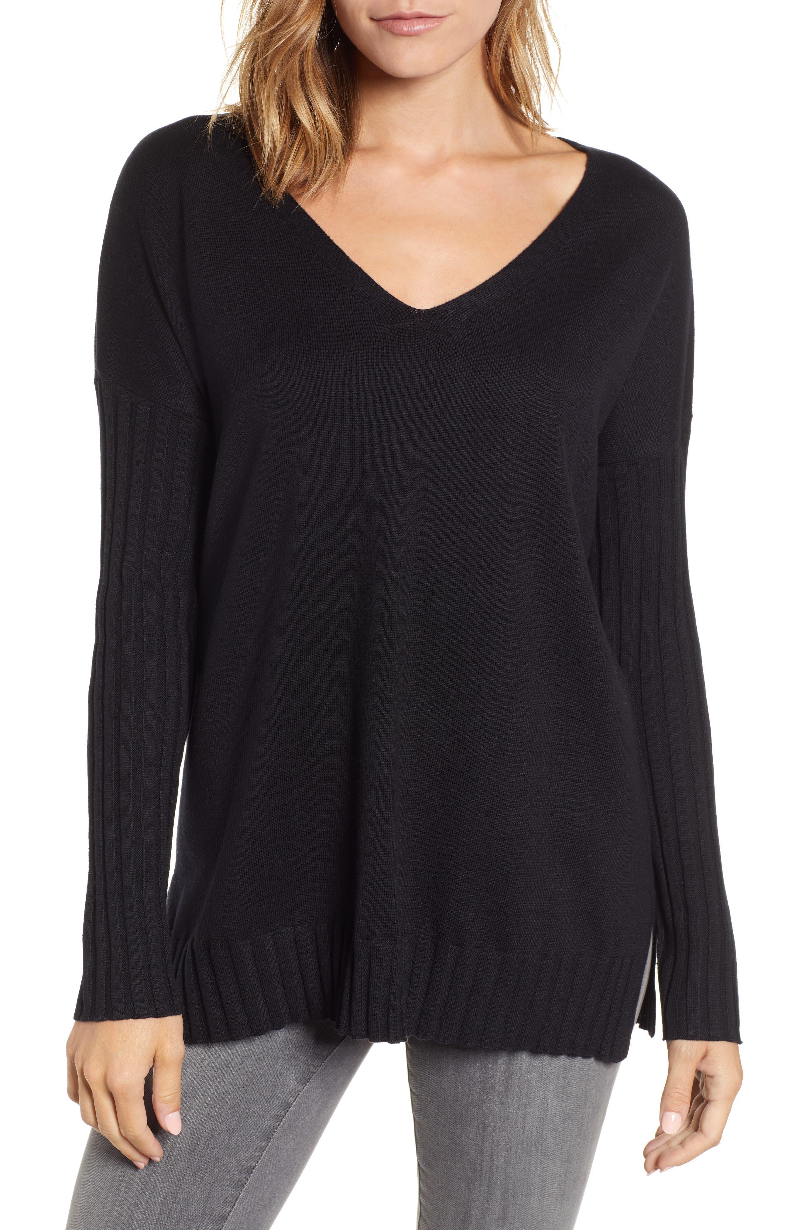 V-Neck Ribbed Sweater,                             Main thumbnail 1, color,                             RICH BLACK