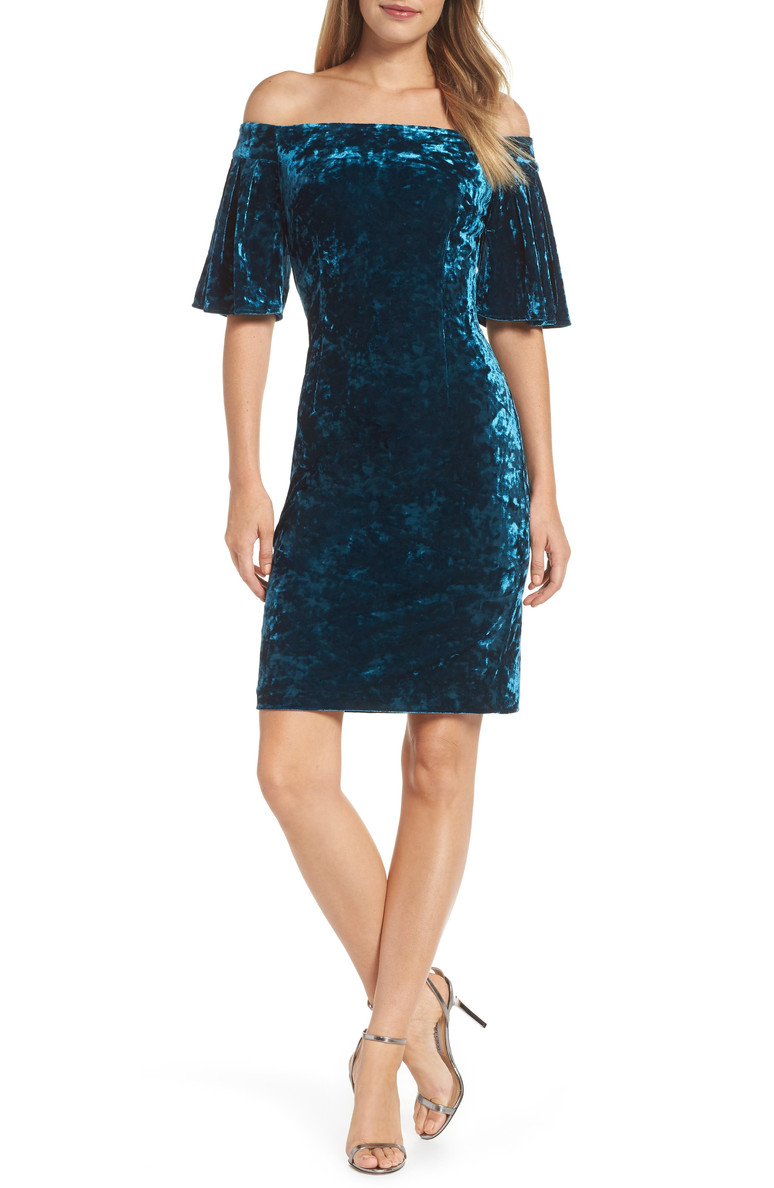 Off the Shoulder Velvet Dress,                         Main,                         color, PEACOCK