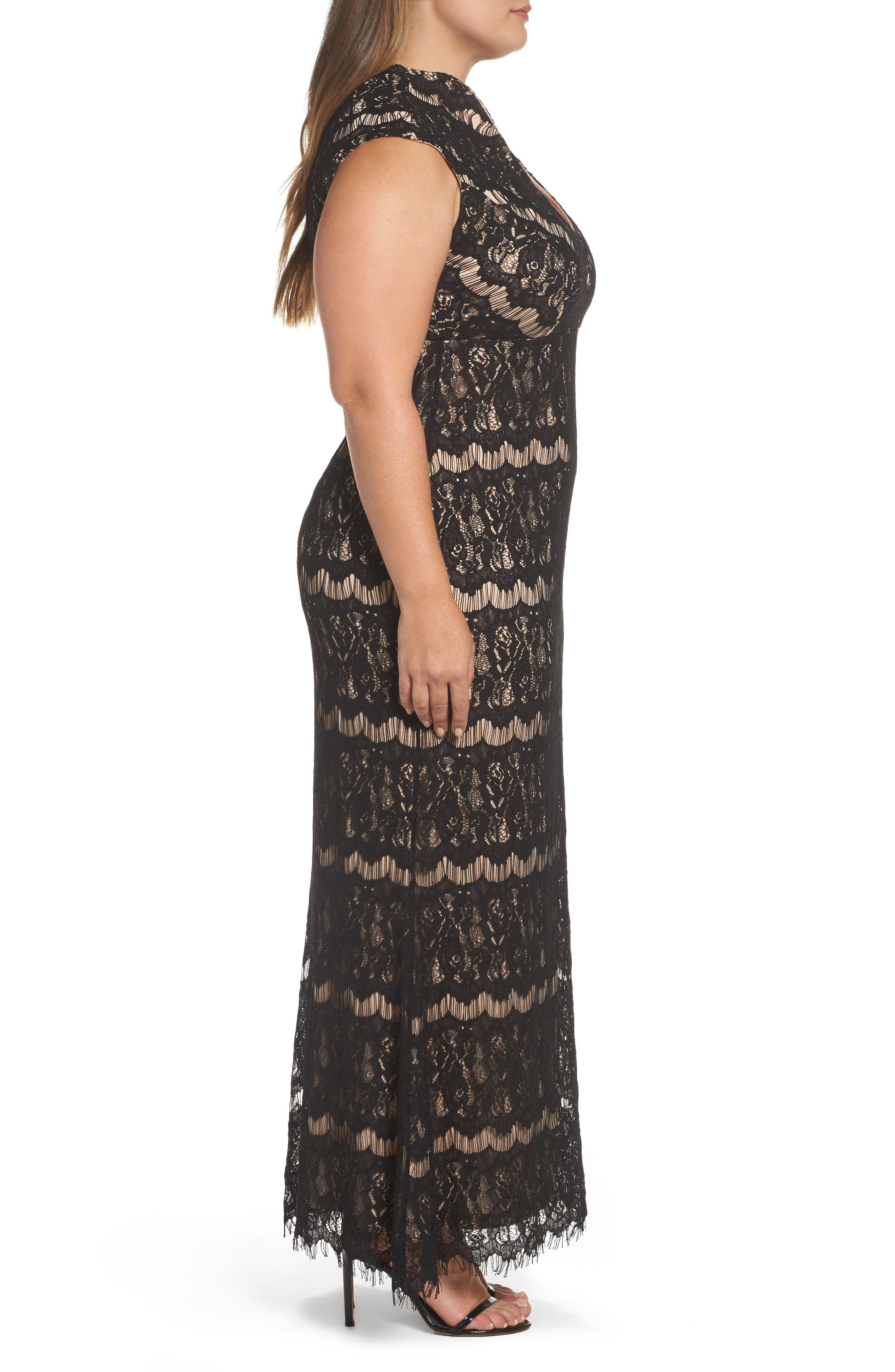 Lace Empire Gown,                             Alternate thumbnail 3, color,                             003