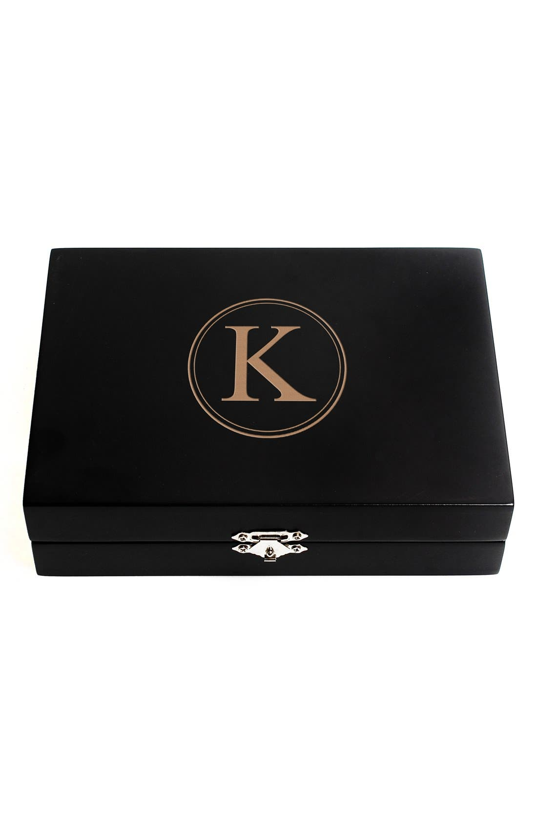 Monogram Wooden Jewelry Box,                             Main thumbnail 13, color,