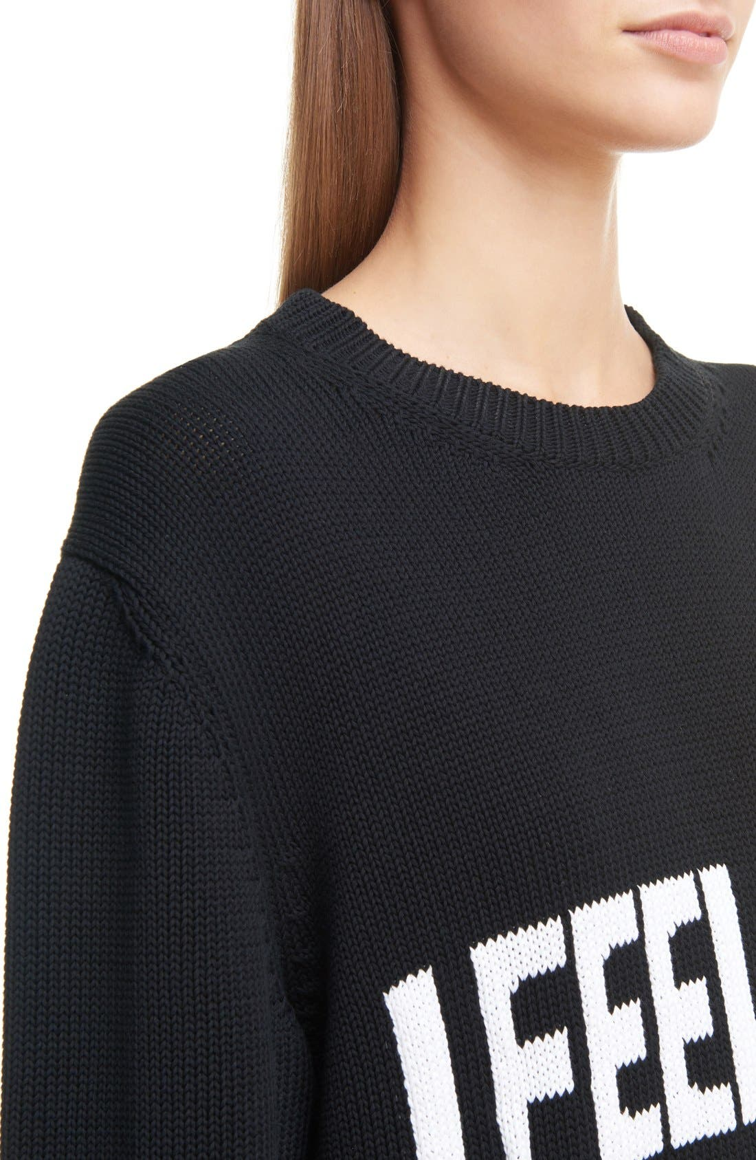 GIVENCHY,                             I Feel Love Cotton Sweater,                             Alternate thumbnail 5, color,                             004