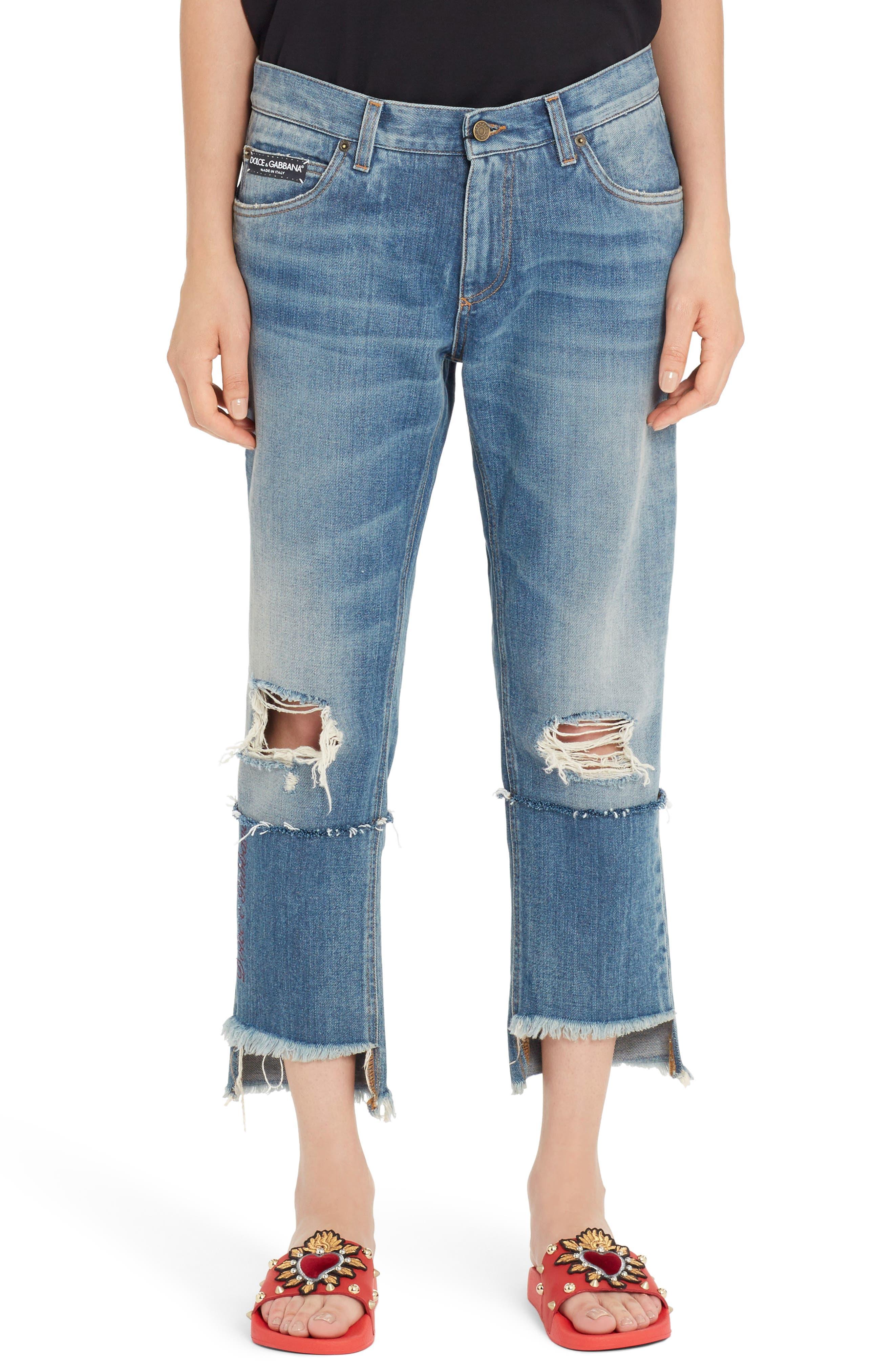 Ripped Crop Step Hem Jeans,                         Main,                         color, DENIM