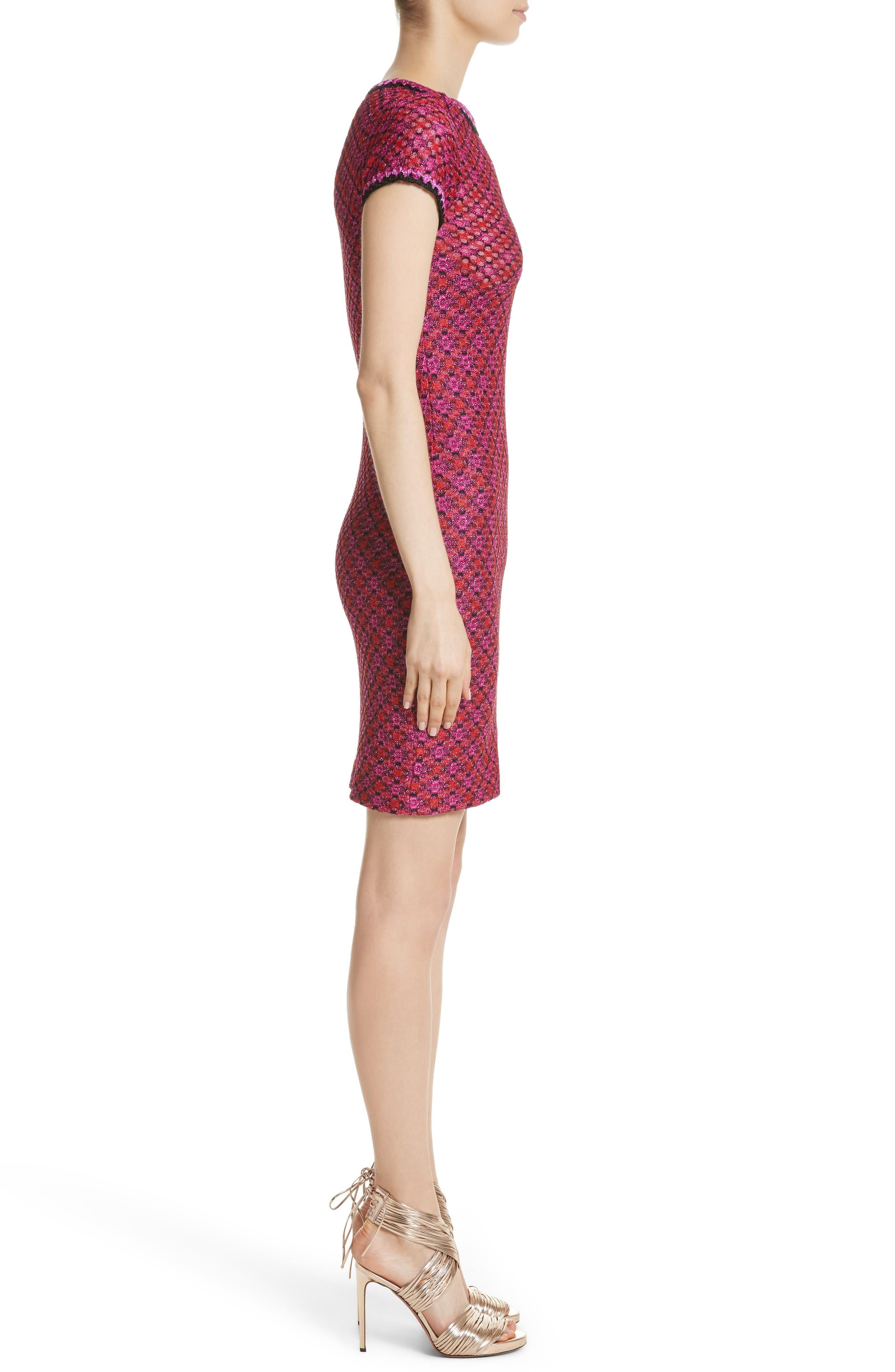Metallic Zigzag Knit Dress,                             Alternate thumbnail 3, color,                             650