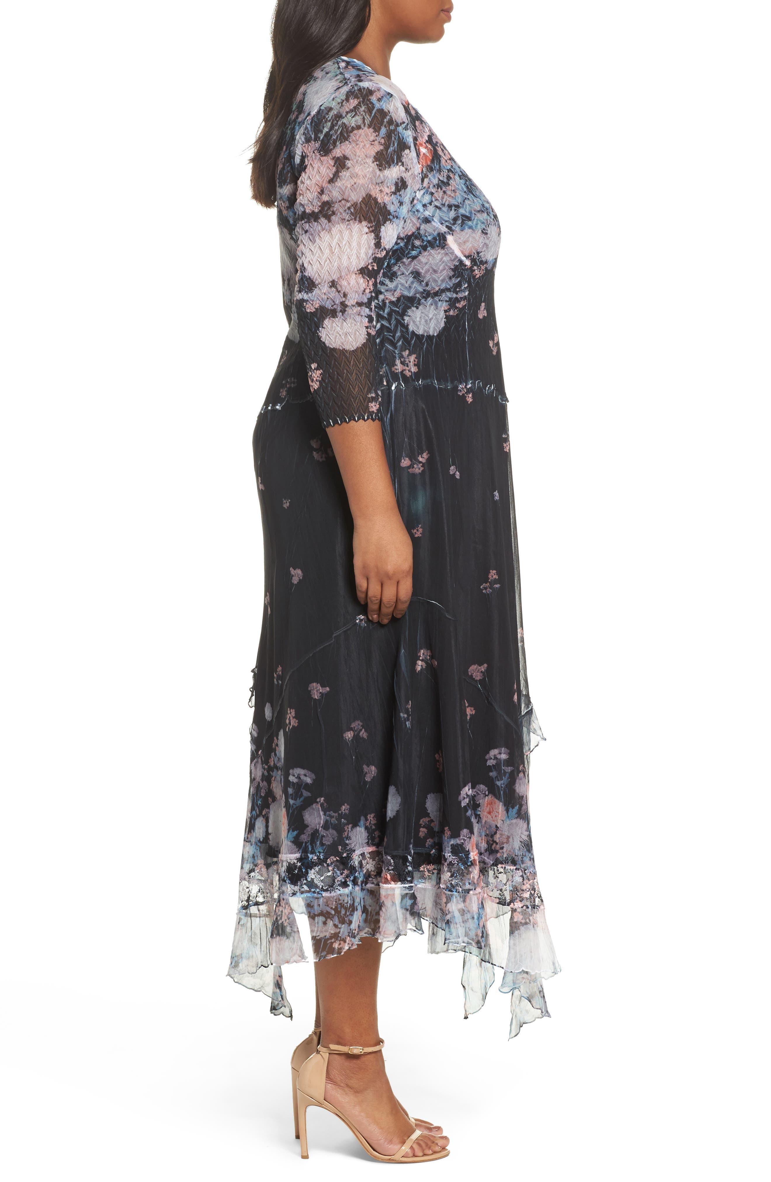 Floral Print Handkerchief Hem Maxi Dress,                             Alternate thumbnail 3, color,                             408